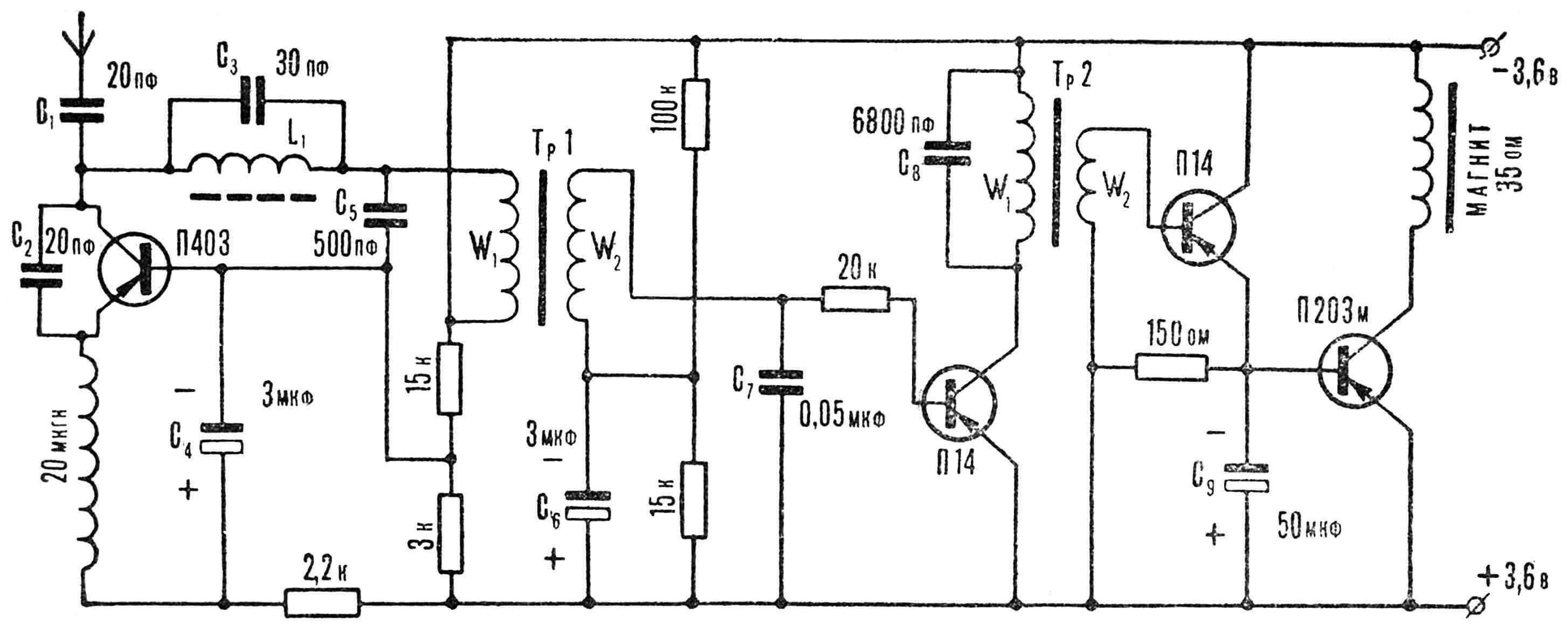 Рис. 6. Принципиальная электрическая схема приемника.