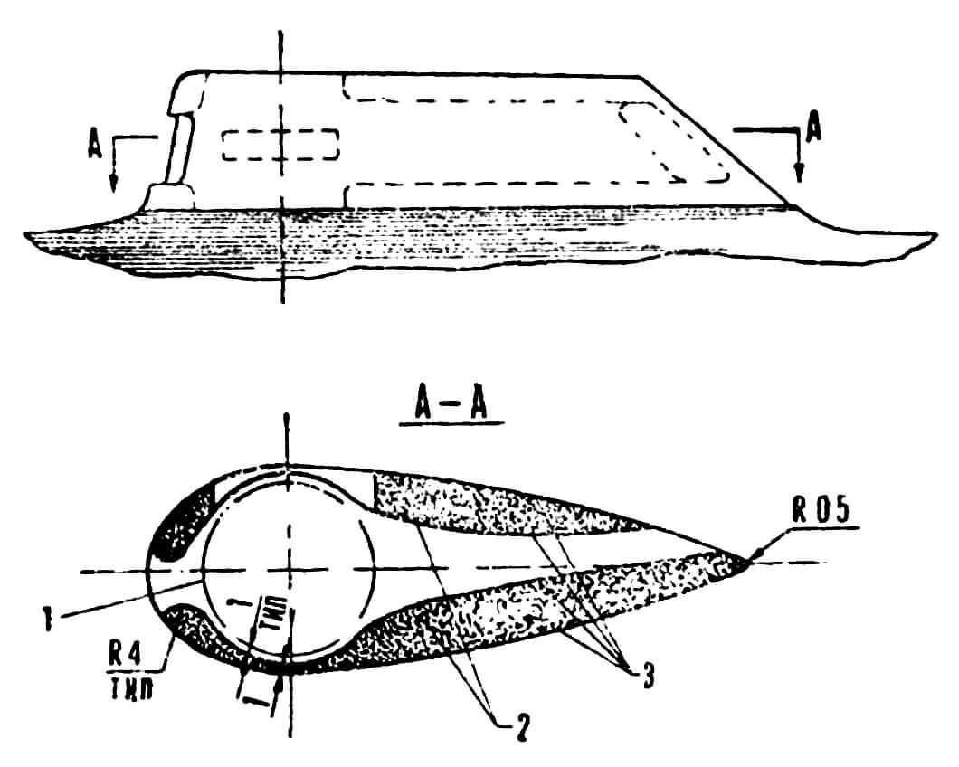 Рис. 6. Канал для охлаждения цилиндра: 1 — головка цилиндра; 2 — пенопласт; 3 — оболочка из стеклоткани.