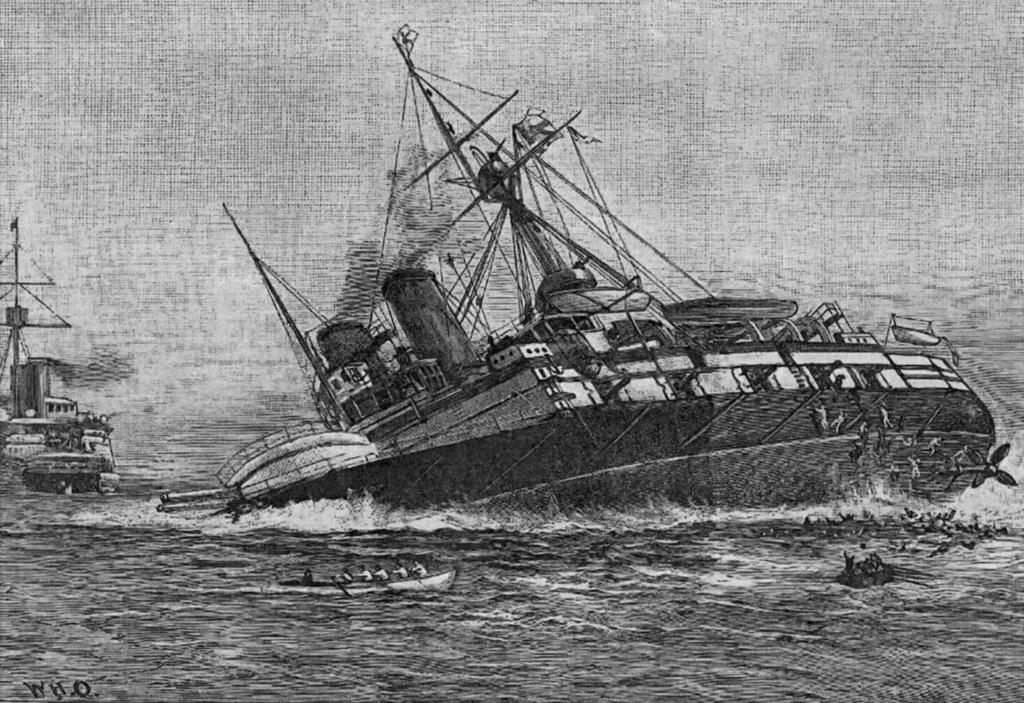 Гравюра с изображением момента гибели броненосца «Виктория»