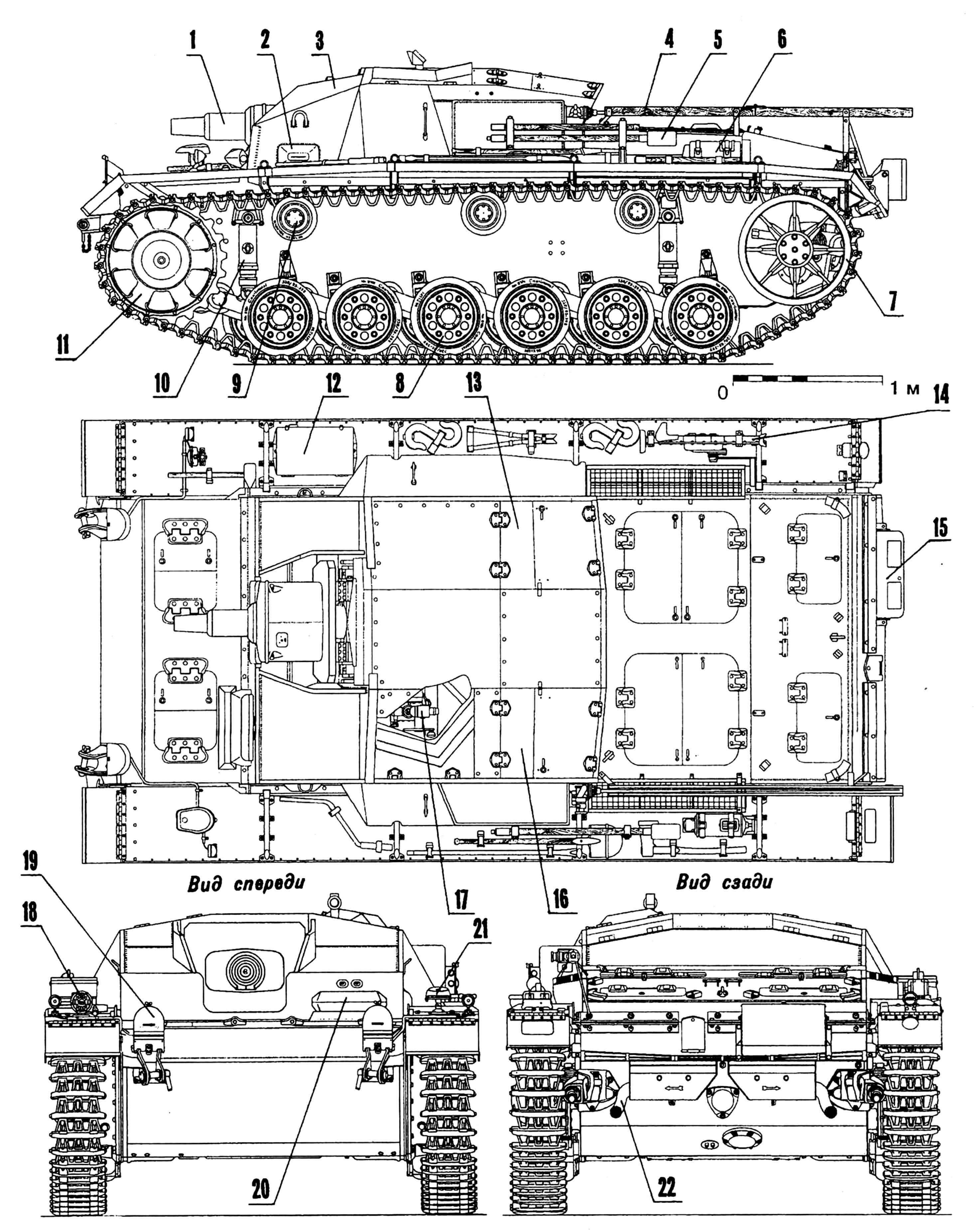 Самоходное штурмовое орудие StuG III Ausf. C/D: 1 — 75-мм пушка StuK 37; 2 — прибор наблюдения механика-водителя; 3 — рубка; 4 — желоб для укладки антенны; 5 — банник; 6 — огнетушитель; 7 — ленивец; 8 — каток опорный; 9 — каток поддерживающий; 10 — амортизатор; 11 — колесо ведущее; 12 — ящик для инструментов; 13 — люк заряжающего; 14 — домкрат; 15 — прибор дымопуска; 16 — люк командира; 17 — прицел; 18 — сигнал; 19 — кожух фары защитный; 20 — прибор наблюдения механика-водителя; 21 — фара Notek; 22 — патрубок выхлопной.