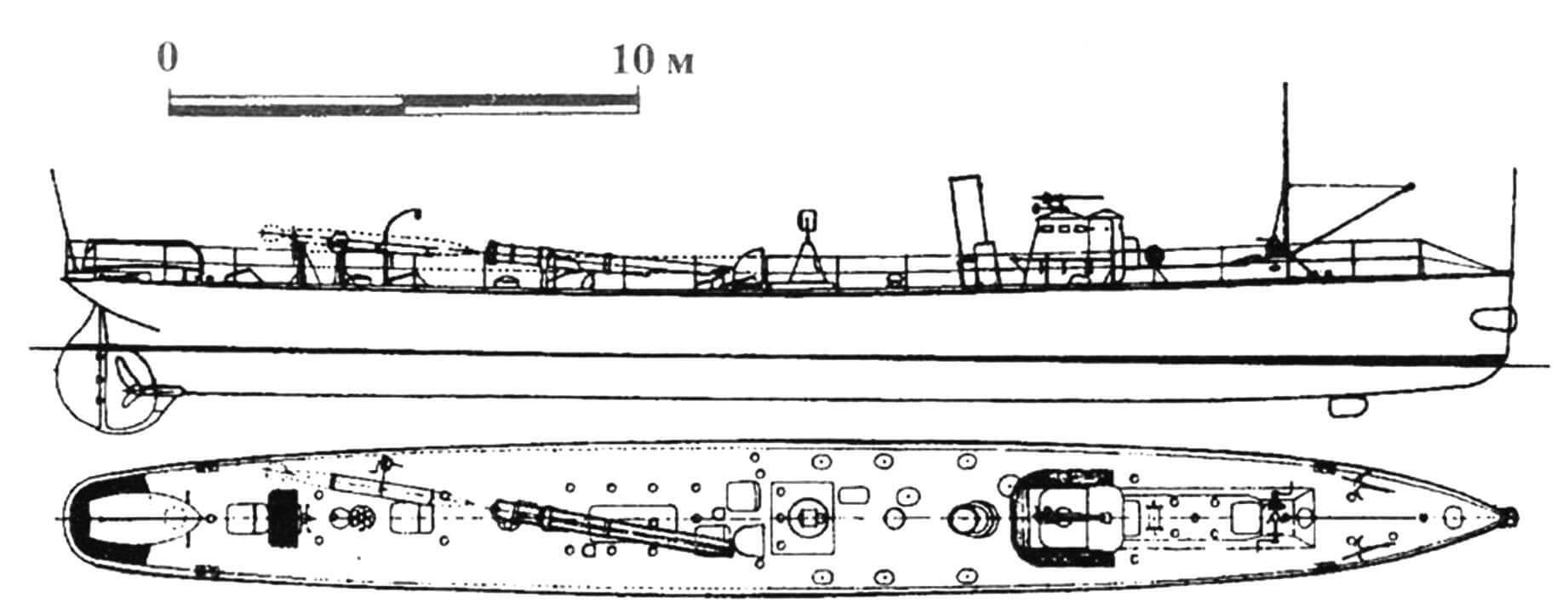 89. Миноносец 2-го класса «Агне», Швеция, 1892 г. Строился на госверфи в Карлскроне. Водоизмещение нормальное 40 т, полное 55 т. Длина наибольшая 31,5 м, ширина 3,55 м, осадка 1,85 м. Мощность одновальной паросиловой установки 460 л.с., скорость на испытаниях 19 узлов. Вооружение: два торпедных аппарата, одна 37-мм пушка. Всего построено семь единиц: «Агне» (№ 75), «Агда» (№77), «Бюгве» (№ 71), «Бюльгия» (№73), «Гальдар» (№ 65), «Нарф» (№ 67) и «Норве» (№ 69).