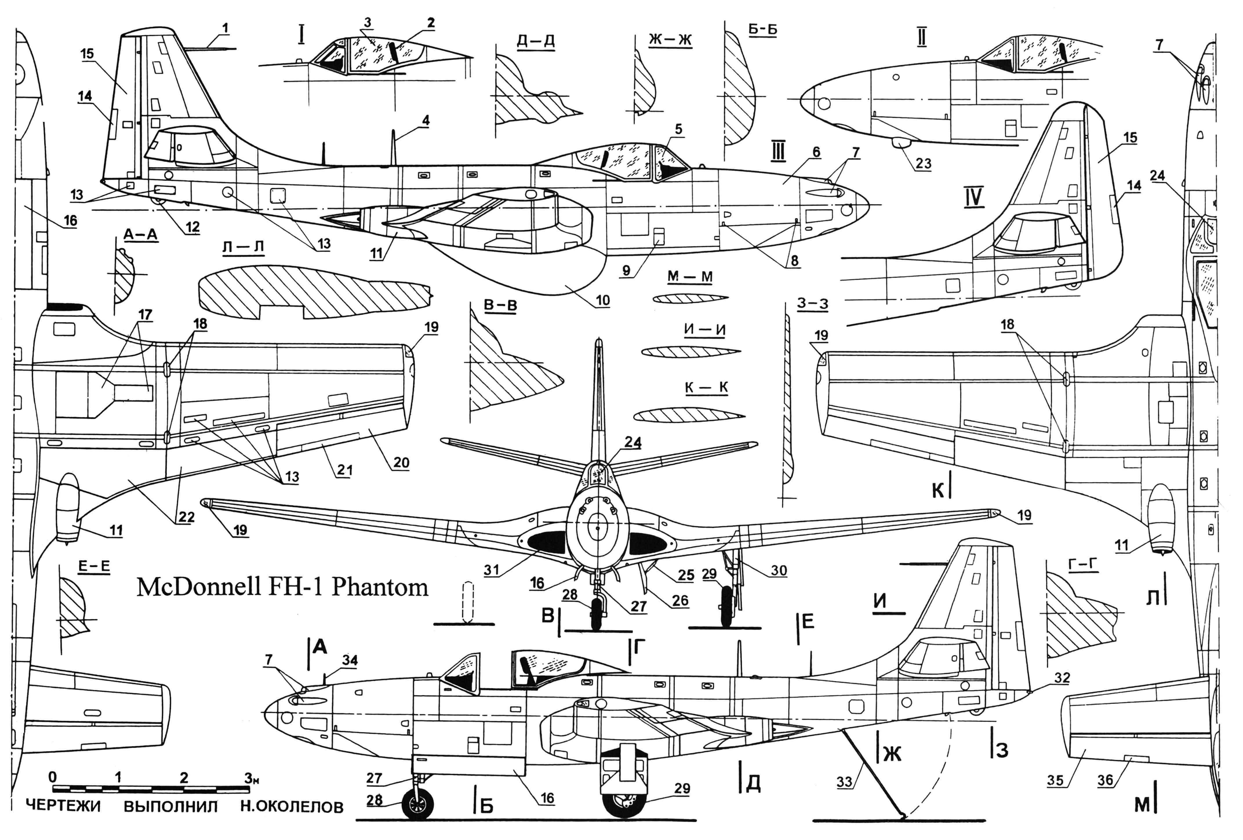 Реактивный палубный истребитель FH-1 «Фантом»: 1 — ПВД; 2 — заголовник кресла пилота; 3 — часть фонаря сдвижная; 4 — антенна радиостанции; 5 — часть фонаря передняя; 6 — крышка отсека вооружения; 7 — пулеметы; 8 — замки люков вооружения; 9 — подножка откидная; 10 — бак подвесной топливный; 11—двигатель; 12 — узел швартовочный; 13 — лючки эксплуатационные; 14 — триммер руля поворота; 15 — руль поворота; 16 — створки носовой стойки шасси; 17, 26 — створки ниши основной стойки шасси; 18 — узлы поворота крыла; 19 — АНО; 20 — элерон; 21 — триммер элерона; 22 — щитки посадочные тормозные; 23 — антенна радиокомпаса; 24 — бронестекло козырька кабины; 25 — гидроцилиндр створки ниши шасси; 27 — стойка носового колеса; 28 — колесо носовое; 29 — колесо основной стойки шасси; 30 — стойка основного шасси; 31 — воздухозаборник; 32 — огонь габаритный; 33 — крюк посадочный; 34 — штырь для ориентации при посадке; 35 — руль высоты; 36 — триммер руля высоты. I — фонарь кабины прототипа XFD-1; II — носовая часть гражданского варианта FH-1; III — серийный FD-l(FH-l) «Фантом»; IV — хвостовое оперение опытного образца XFD-1.