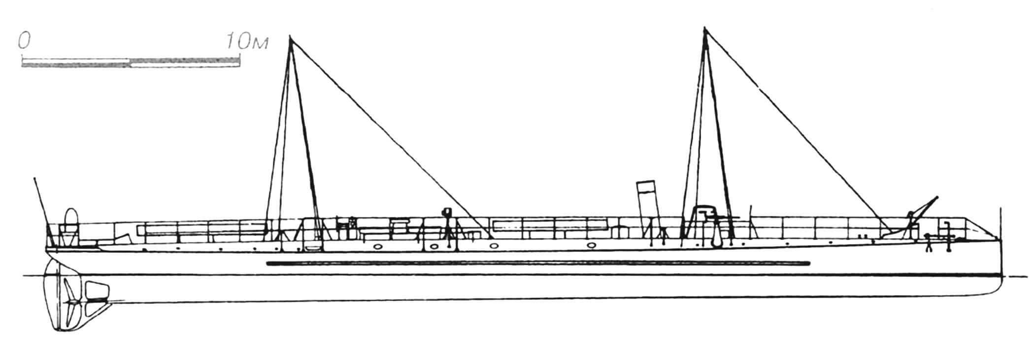 64. Миноносец «Ажиль», Франция, 1890 г. Строился фирмой «Ла Сен». Водоизмещение нормальное 103 т, полное 120 т. Длина наибольшая 44,15 м, ширина 4,55 м, осадка 1,8 м. Мощность одновальной паросиловой установки 1400 л.с., скорость на испытаниях 20,7 узла. Вооружение: три 350-мм торпедных аппарата, три 37-мм револьверные пушки. В 1889 — 1892 гг. построено семь единиц: «Ажиль», «Одосье», «Эклэр», «Кабил», «Ораж», «Сарацин» и «Турбийон» (последние два — на верфи «Сосьете де ла Жиронд» в Бордо). Первоначально имели одну трубу и две мачты, но после замены локомотивных котлов на водотрубные стали двухтрубными. «Одосье» погиб при столкновении в 1896 г., остальные исключены из списков в 1911 — 1912 гг., кроме «Ораж», служившего в качестве вспомогательного судна до 1921 г.