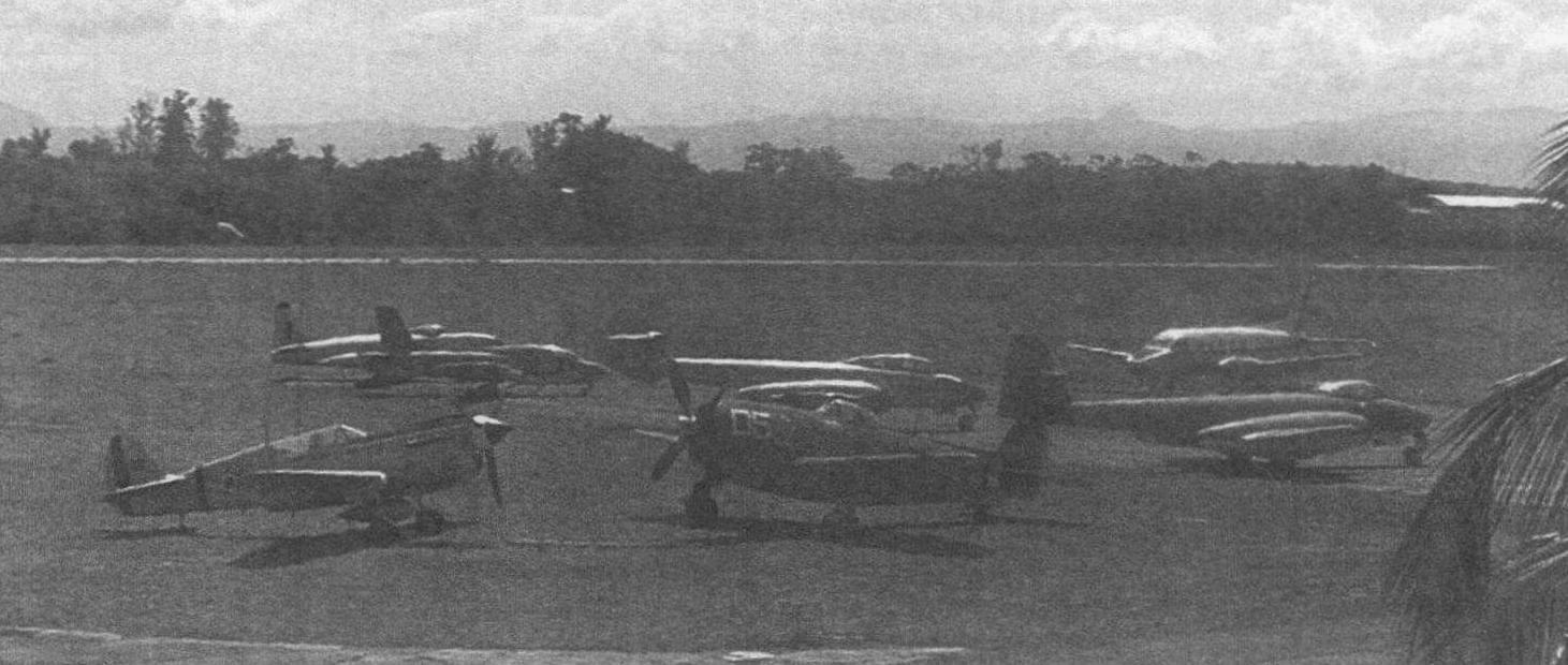 На переднем плане истребители Р-40 и Р-47 1 иап ВВС Бразилии