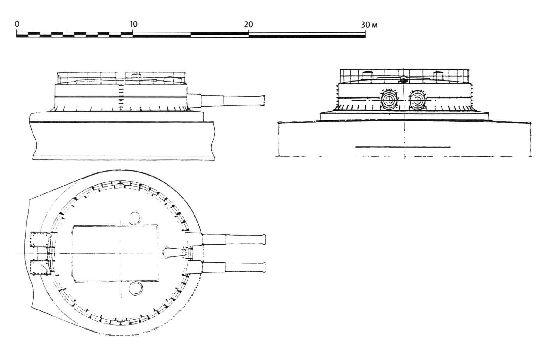 Башня главного калибра. Соответствует масштабу общего вида корабля сбоку (см. «М-К»№ 2-2019)