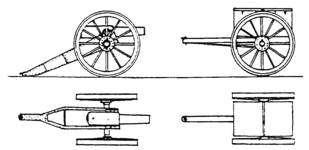 7-фунтовая десантная пушка и зарядный ящик к ней