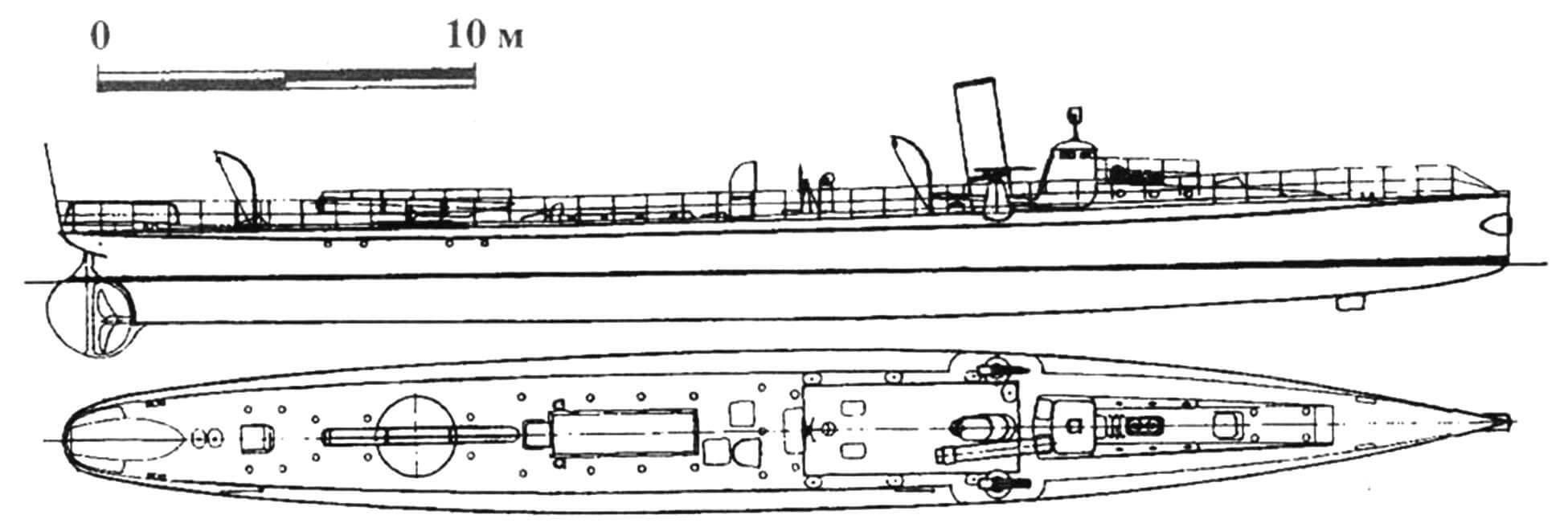 90. Миноносец «Гундул», Швеция, 1894 г. Строился на госверфи в Карлскроне. Водоизмещение нормальное 70 т, полное 86 т. Длина наибольшая 37,7 м, ширина 4,25 м, осадка 2,05 м. Мощность одновальной паросиловой установки 850 л.с., скорость на испытаниях 19,6 узла. Вооружение: два торпедных аппарата, две 25-мм пушки. Всего построено две единицы: «Гундул» и «Гудур».