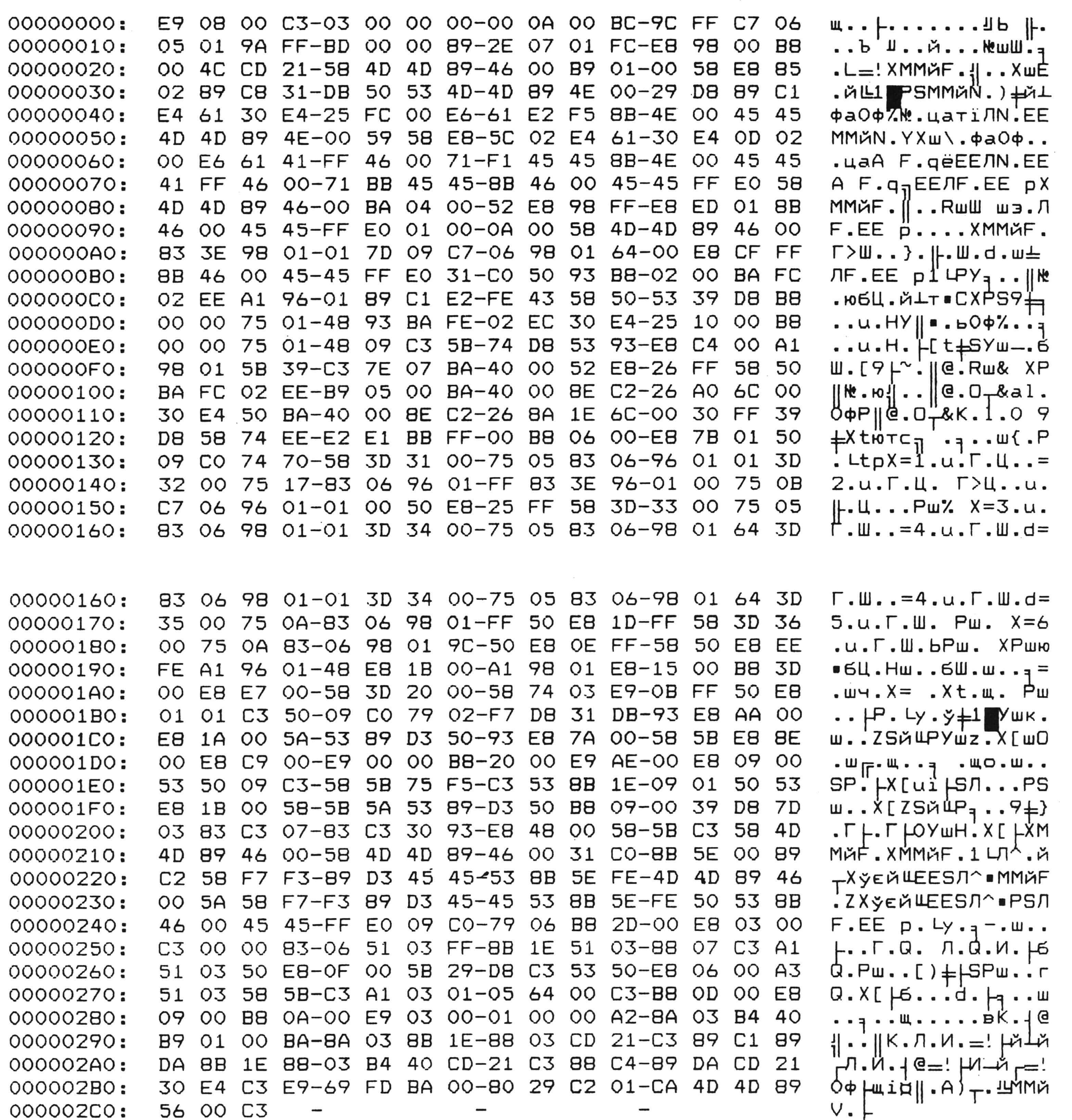 Машинные коды СОМ-файла.