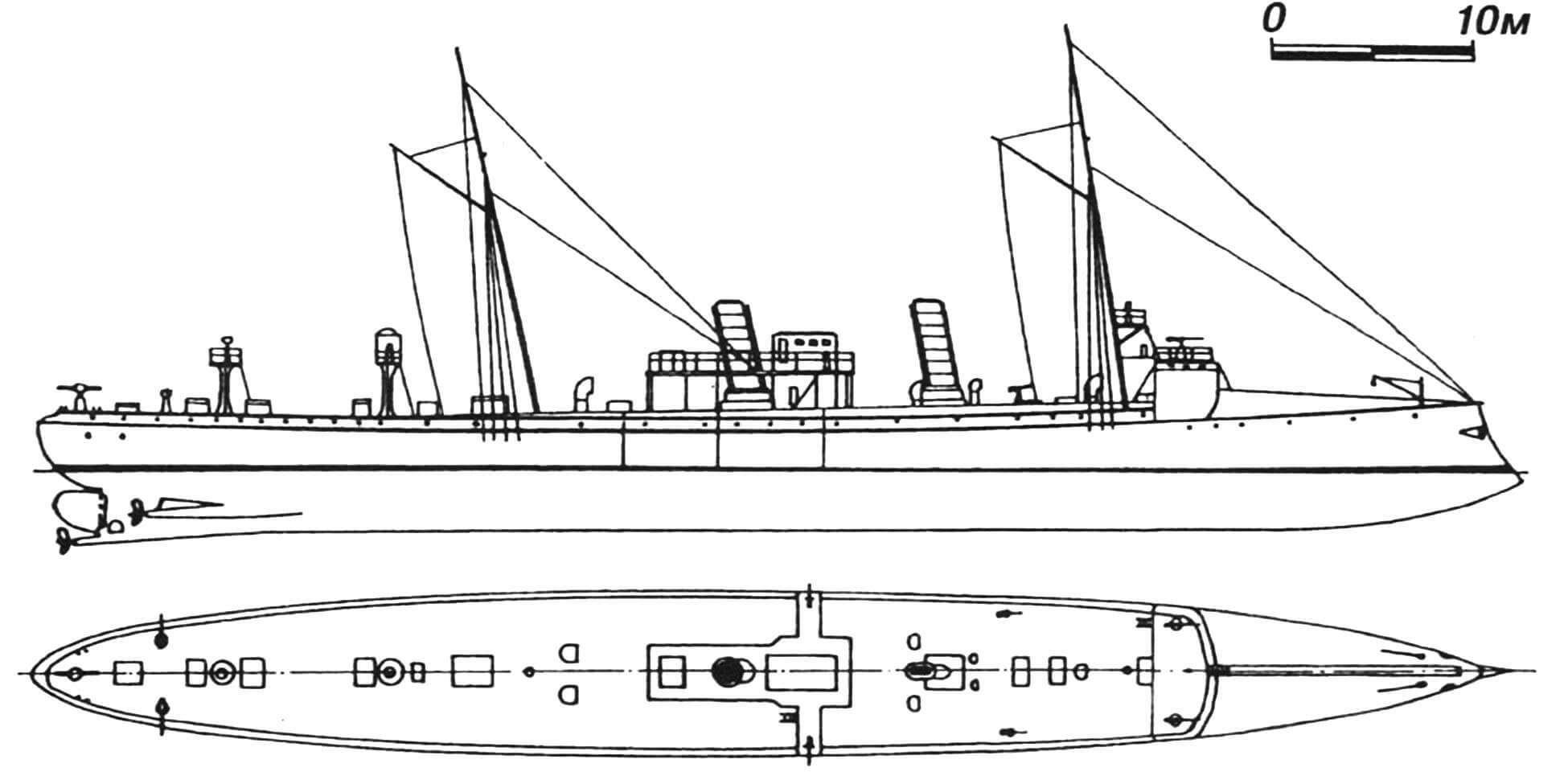 76. Минный крейсер «Монзамбано», Италия, 1889 г. Строился на государственной верфи в Специи. Водоизмещение нормальное 870 т, полное 980 т. Длина максимальная 73,4 м, ширина 7,9 м, осадка 3,3 м. Мощность трехвальной паросиловой установки 3100 л.с., скорость на испытаниях 18,2 узла. Вооружение: пять 356-мм торпедных аппаратов, шесть 57-мм и два 37-мм орудия. Броня палубы 37 мм. Построено четыре единицы: «Монзамбано», «Гоито», «Монтебелло» и «Конфьенца». Имели несколько различные размеры и вооружение и разное число труб (первые два — две трубы, третий — три и последний — одну). Неоднократно модернизировались и перевооружались. «Монзамбано» и «Конфьенца» исключены из списков в 1901 г., остальные два — после Первой мировой войны.