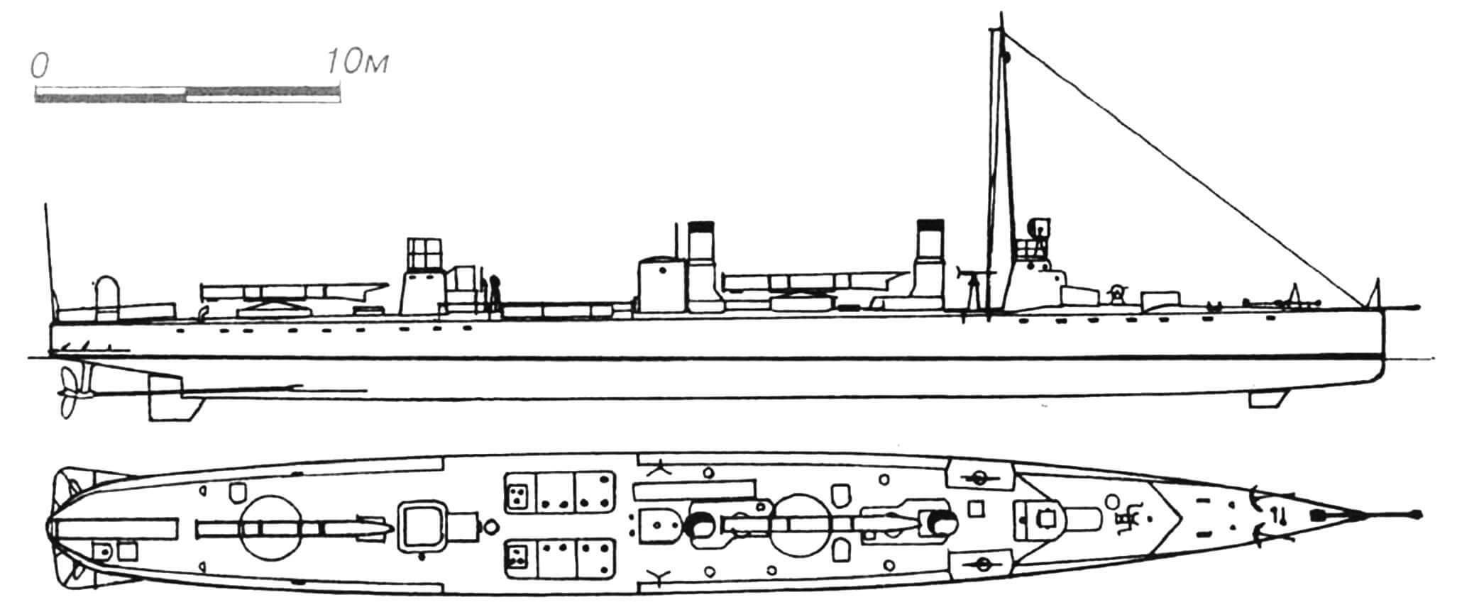 65. Миноносец «Шевалье», Франция, 1893 г. Строился фирмой «Ле Норман». Водоизмещение нормальное 120 т, полное 137 т. Длина наибольшая 44,0 м, ширина 4,50 м, осадка 2,1 м. Мощность двухвальной паросиловой установки 2200 л.с., скорость на испытаниях 27,6 узла. Вооружение: два 450-мм торпедных аппарата, две 37-мм револьверные пушки. Очень удачный корабль — сохранял свою высокую скорость в течение многих лет. В 1904 г. сменены котлы. Активно участвовал в Первой мировой войне. Сдан на слом в 1920 г.