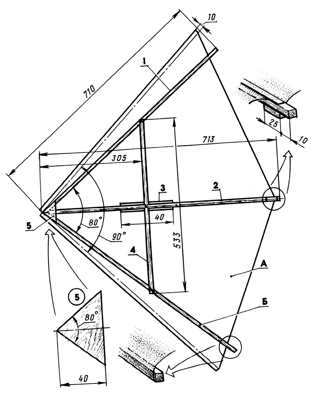 Дельта-крыло модели (А — оболочка, Б — каркас): 1 — балка боковая (ель, рейка 7x7); 2 — балка центральная (ель, рейка 7x7); 3 — накладка (фанера s2); 4 — балка поперечная (ель, рейка 7x7); 5 — косынка (фанера s1).