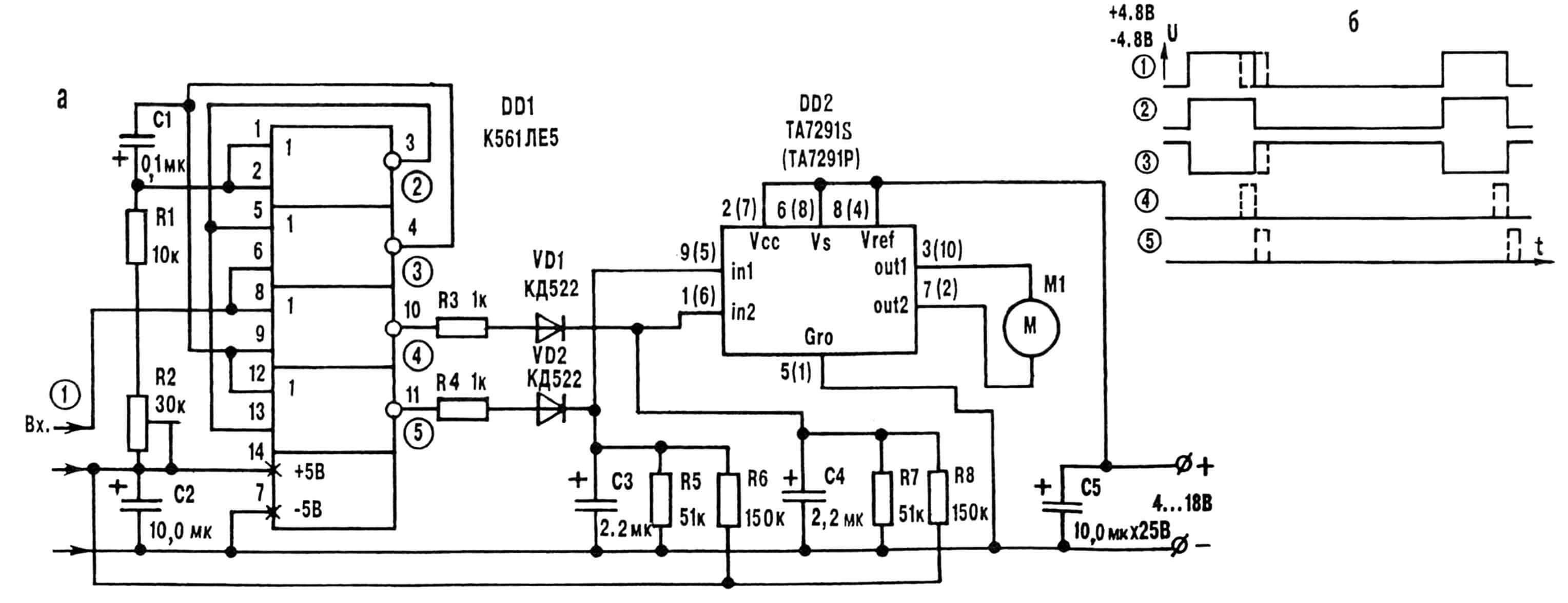 Рис. 2. Принципиальная электрическая схема (а) и временные диаграммы (б) маломощного регулятора оборотов.
