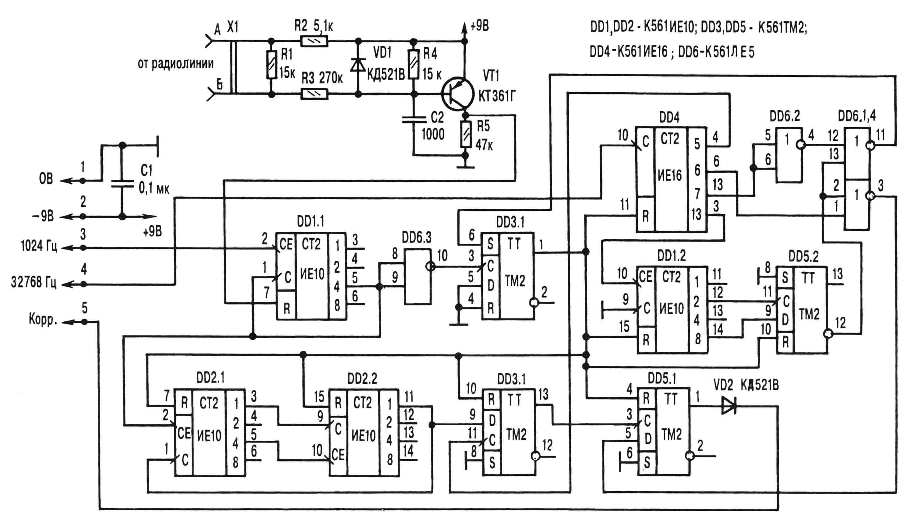 Рис. 2. Принципиальная электрическая схема самодельного устройства.