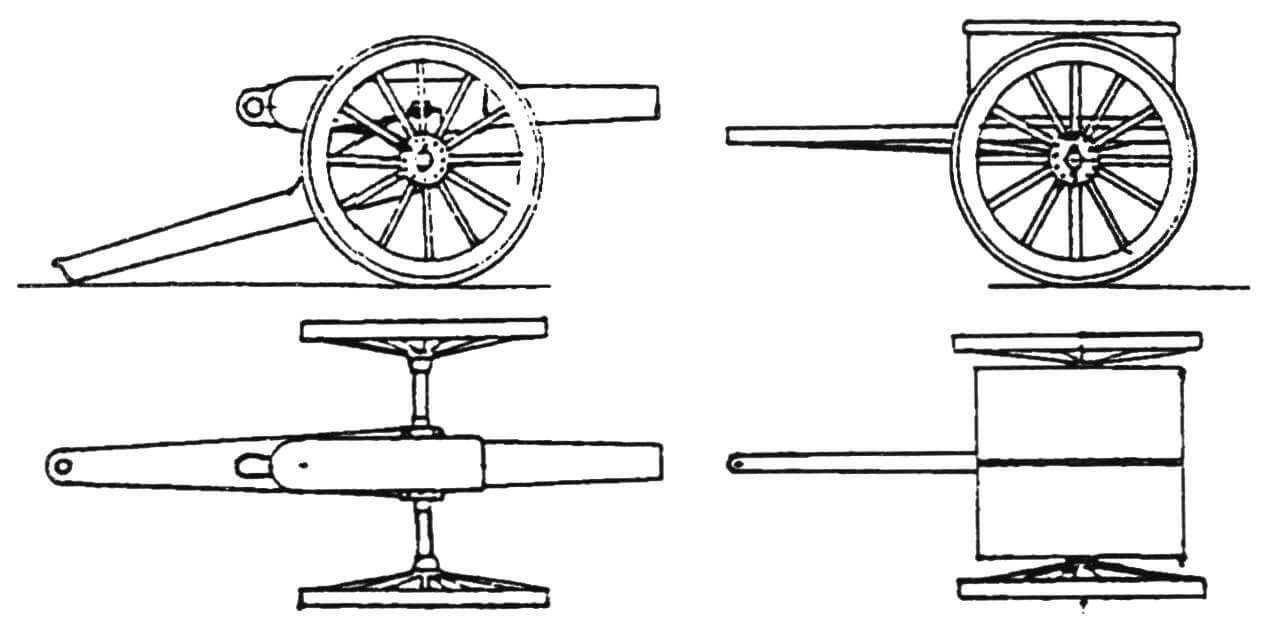 9-фунтовая десантная пушка и зарядный ящик к ней