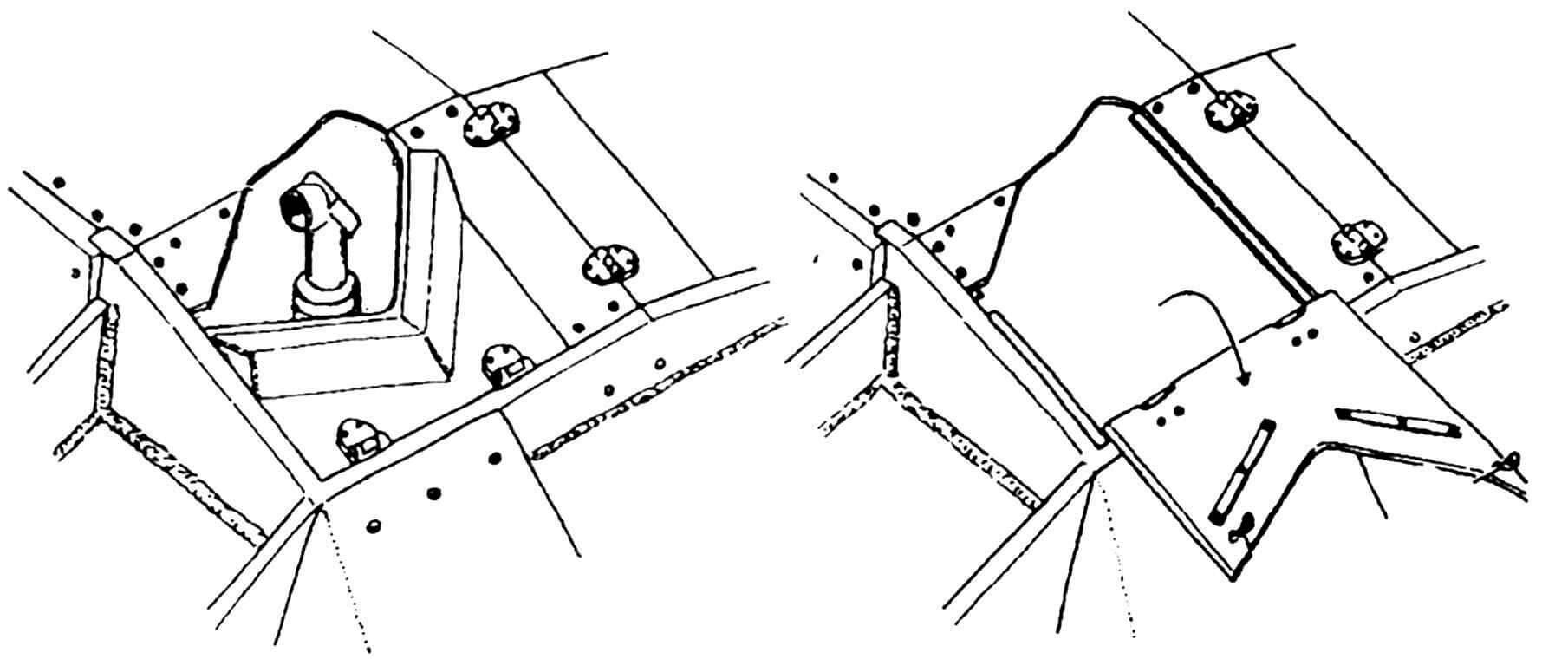Люк для установки перископического прицела в закрытом и в открытом положении.