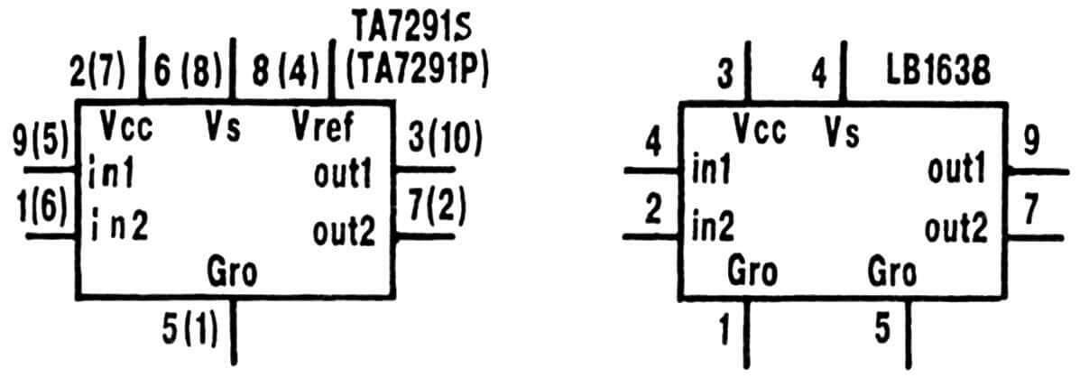 Рис. 3. Обозначение выводов микросхем ТА7291 и LB1638.