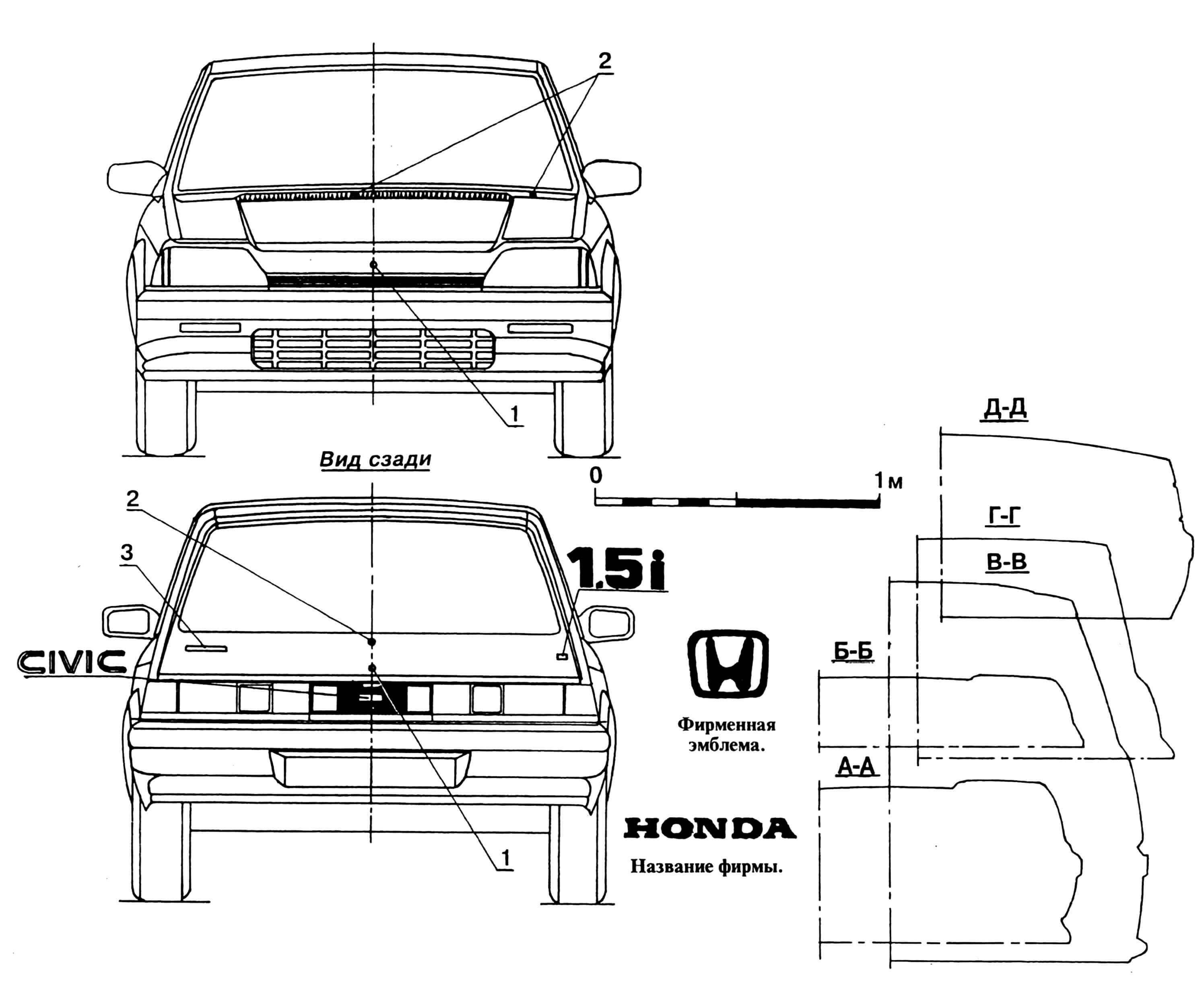 HONDA CIVIC GTI: 1 — фирменная эмблема, 2 — узлы крепления стеклоочистителей, 3 — название фирмы.