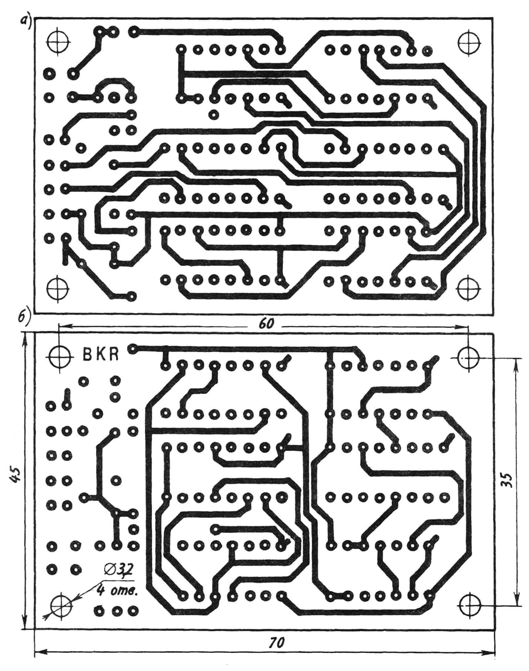 Рис. 3. Топология печатной платы со стороны пайки (а) и расположения радиоэлементов (б).
