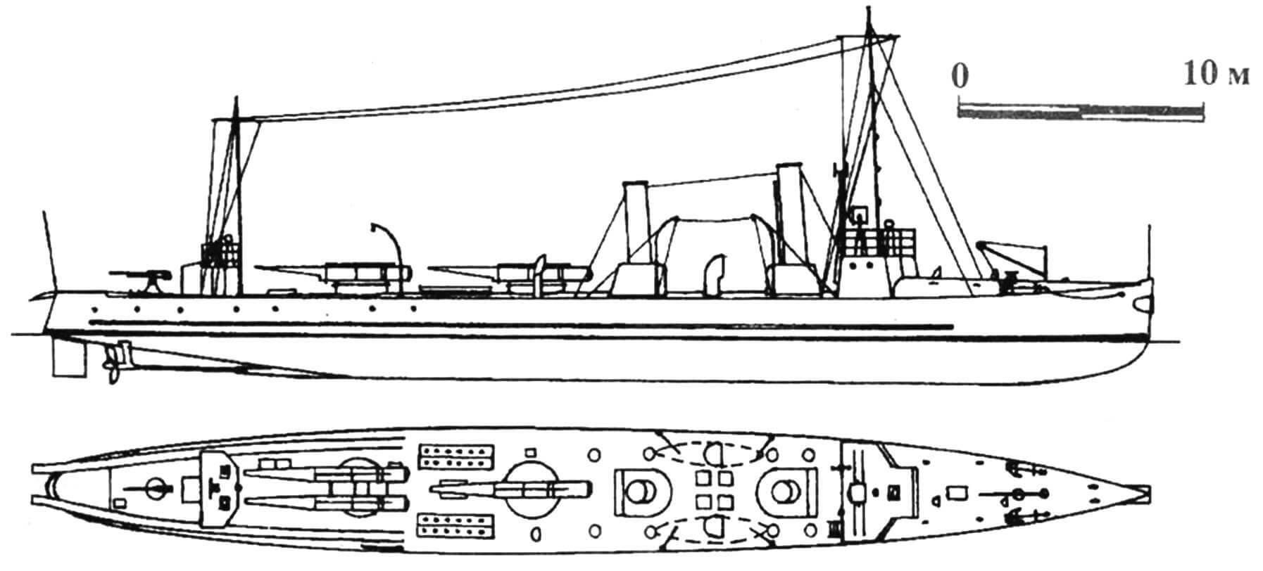 92. Миноносец «Хвальроссен», Дания, 1913 г. Строился на госверфи в Копенгагене. Водоизмещение нормальное 185 т. Длина наибольшая 45,2 м, ширина 5,18 м, осадка 2,13 м. Мощность двухвальной паросиловой установки 3500 л.с., скорость на испытаниях 26 узлов. Вооружение: четыре торпедных аппарата, одна 75-мм пушка. Всего построено три единицы: «Хвальроссен», «Дельфинен» и «Свэрдфискен», вошедшие в строй в 1912— 1913 гг. «Хвальроссен» затоплен в 1942 г. при попытке немцев захватить датские корабли; остальные исключены из списков в 1932 г.