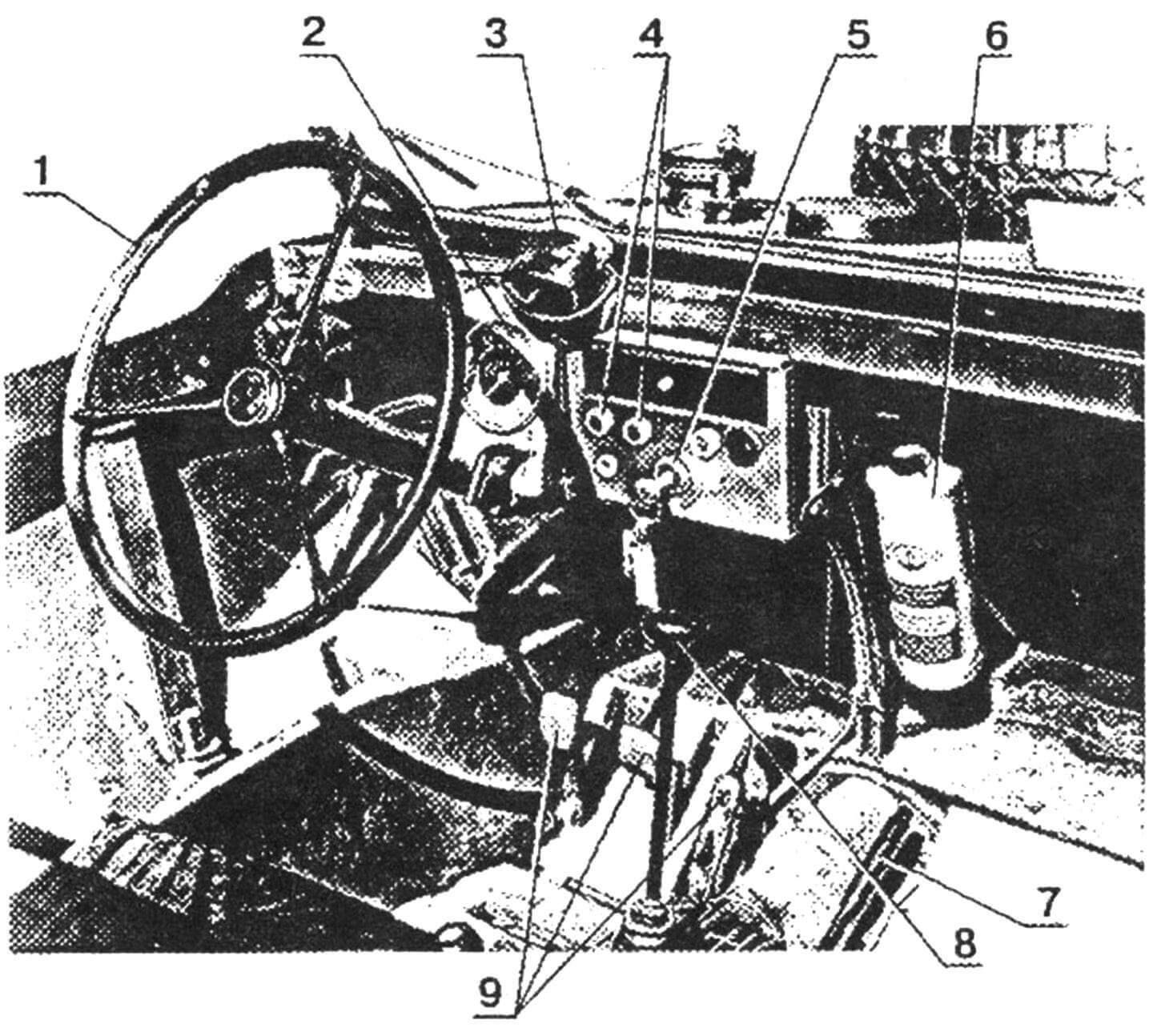 Органы управления и контроля автомобиля: 1 — колесо рулевое; 2 — спидометр; 3 — электромеханизм привода стеклоочистителя; 4 — лампы контроля температуры и давления масла; 5 — замок зажигания; 6 — огнетушитель; 7 — рычаг ручного тормоза; 8 — рычаг переключения передач; 9 — педали управления.