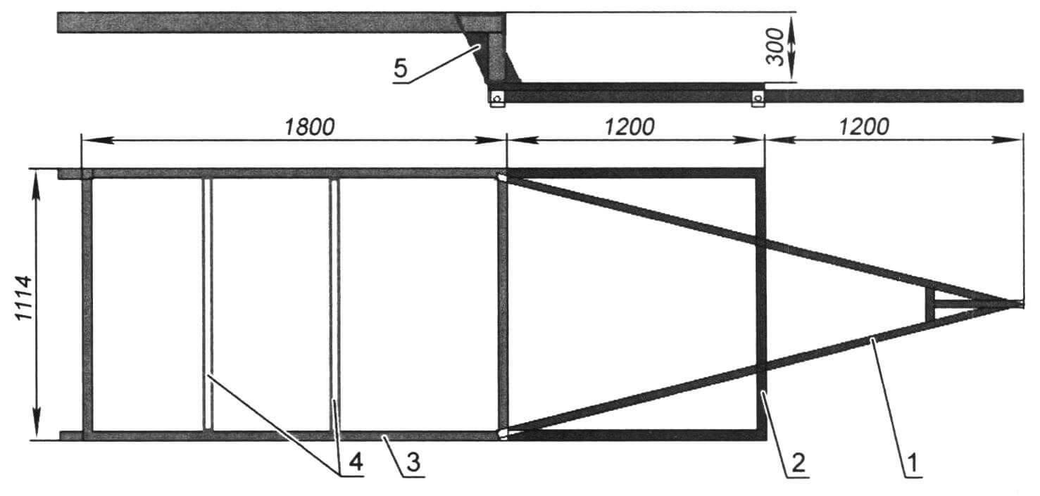 Рама прицепа: 1 - дышло (профиль 50x50x3 мм); 2 - нижняя часть основания рамы (профиль 40x60x3 мм); 3 - верхняя часть основания рамы (профиль 60x80x3 мм); 4 - поперечины (профиль 50x50x2,5 мм); 5 - усилители (лист 4 мм)