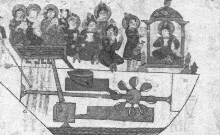 Музыкальный автомат Аль-Джазари (13 век). На старинном чертеже показан принцип его действия: бегущая из бака вода приводит во вращение колесо и связанный с ним продольный вал, который соединен тягами с руками музыкантов