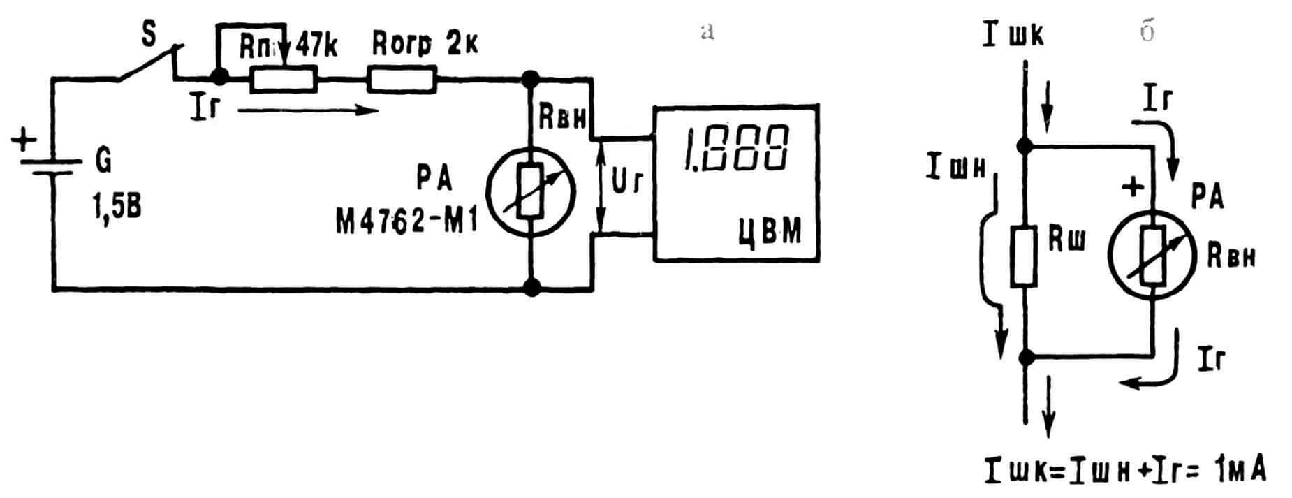 Рис. 4. Схема проведения контрольных измерений (а) и необходимые расчетные соотношения с диаграммами токов (б) для доработки измерительной головки М4762 при ее использовании в «Бетамере».