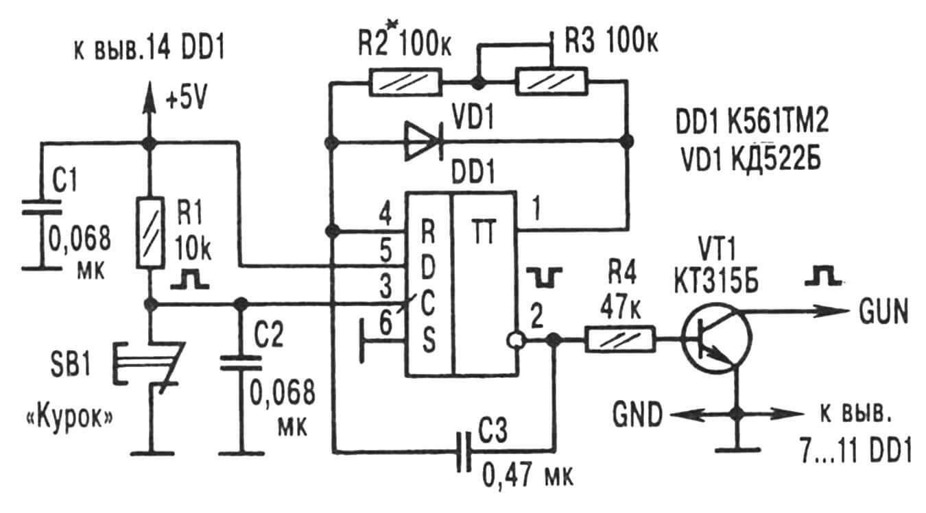 Рис. 5. Принципиальная электрическая схема генератора «осечек».