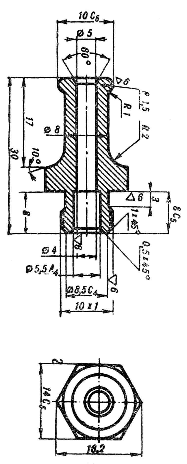 Рис. 6. Штуцер для подачи сжатого воздуха.