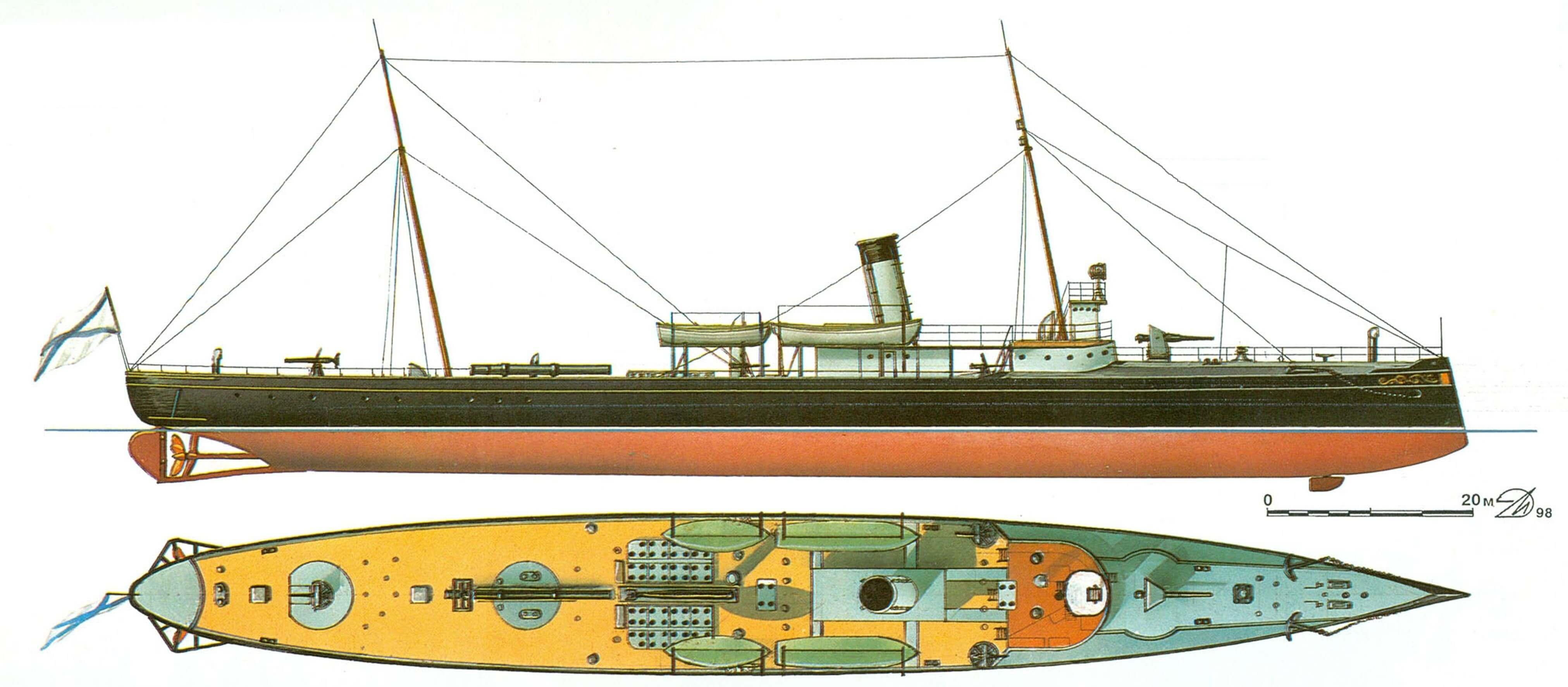 71. Минный крейсер «Абрек» Россия, 1896 г.