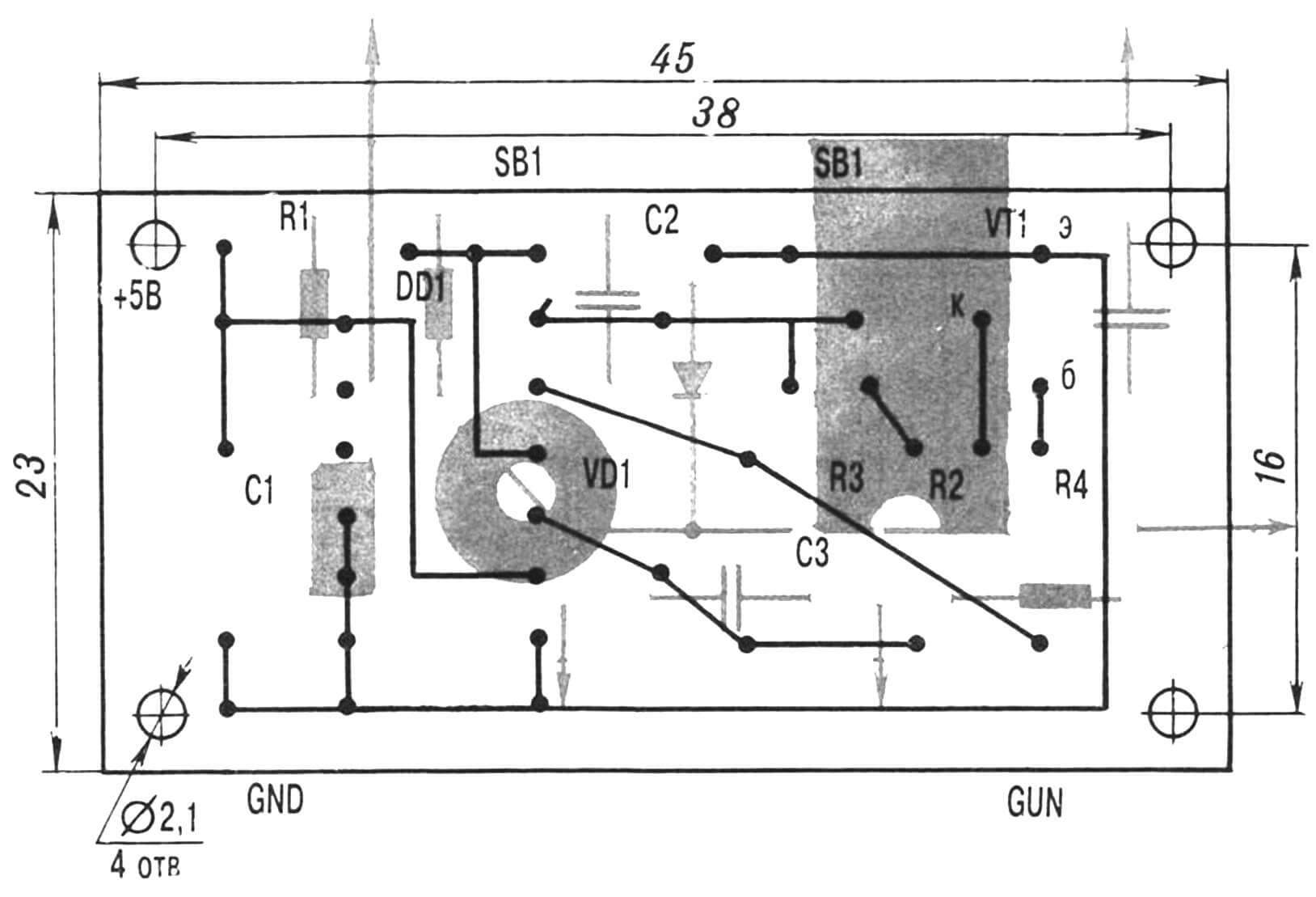 Рис. 6. Печатная плата с элементами монтажа.