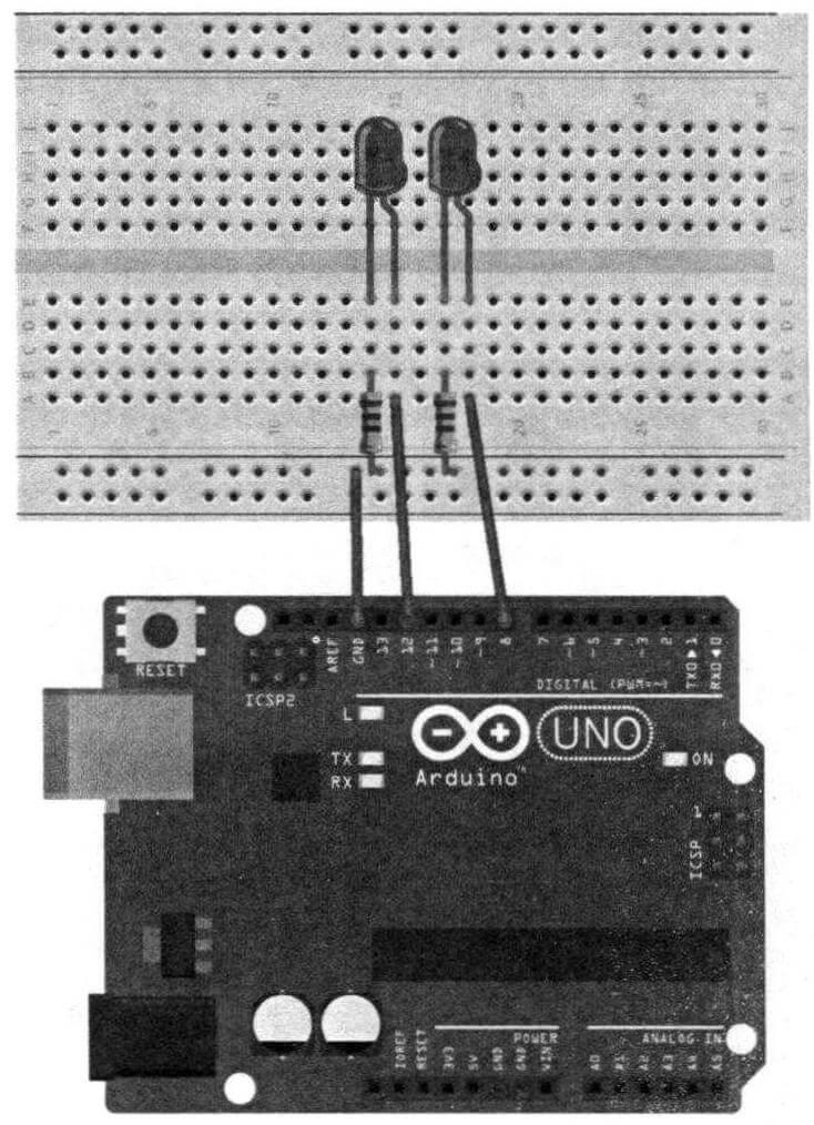 Схема нашего устройства на макетной плате