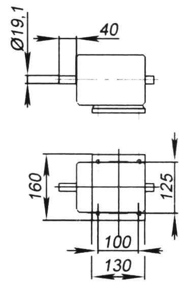 Габаритные размеры используемого двигателя (900 об/мин, 300 Вт, 380 В)