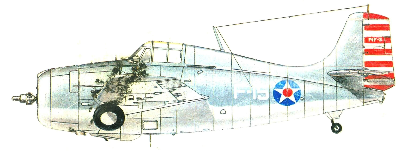 F4F-3, авианосец Lexington, эскадрилья VF-3, 20 февраля 1942 года. На этом самолете лейтенант О'Хэйр сбил пять японских бомбардировщиков.