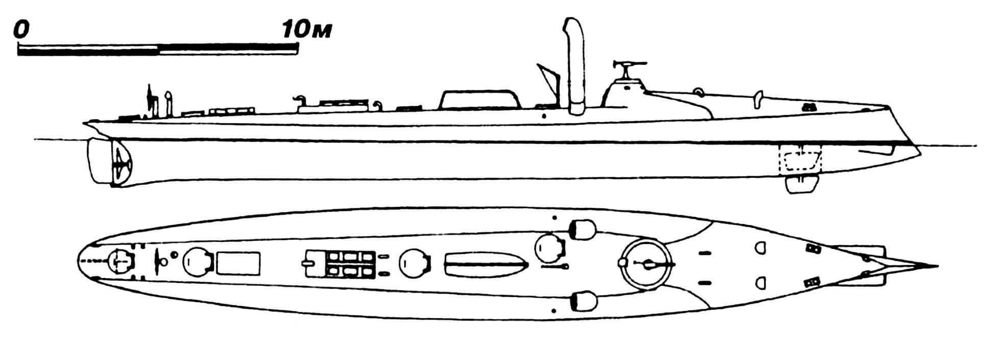 28. Миноносец № IX, Австро-Венгрия, 1881 г. Строился в Англии фирмой «Ярроу» по образцу русского «Батума». Водоизмещение нормальное 40 т, полное 47 т. Длина наибольшая 31,2 м, ширина 3,81 м, осадка 1,5 м. Мощность одновальной паросиловой установки 450 л.с. (проектная), скорость 17 узлов. Вооружение: два носовых 356-мм торпедных аппарата и 37-мм пушка. Всего для Австро-Венгрии построено две единицы ( № IX и X). Обе сданы на слом в 1904 — 1905 гг.