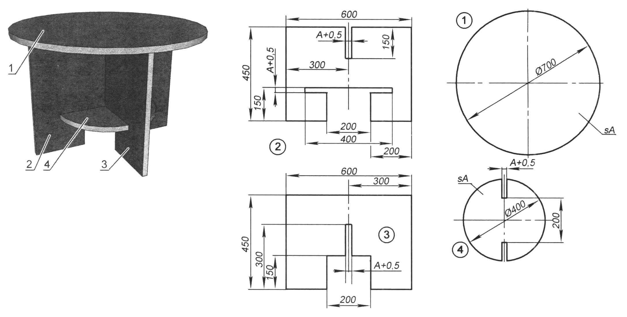 Разборный столик: 1 - столешница; 2 - «нижняя» панель основания; 3 - «верхняя» панель основания; 4 - вставная полочка. А - толщина материала