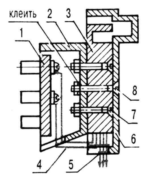 Разъем становится тройником: 1 — основание штепсельной вилки ШТР-IV с контактными ножками; 2 — крышка телефонного штепселя, доработанная; 3 — корпус-основание розетки PTШK-IV, модернизированный (контактные пружины условно не показаны); 4 — провод монтажный ПМП-0,2 (2 шт.); 5 — провод монтажный МГВ-0,2 (3 шт.); 6 — крышка телефонной розетки, доработанная; 7 — болт М3х10 (2 шт.); 8 — болт М3х 15.