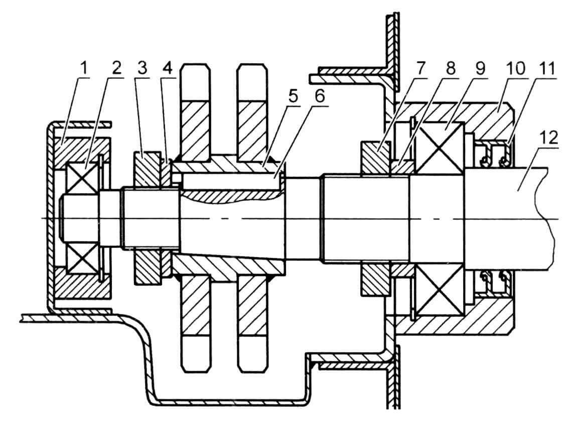 Вал привода колеса (фрагмент) в сборе с подшипниковыми обоймами: 1 - опора внутреннего подшипника; 2 - подшипник 305; 3 - гайка М33х1,5 («КАМАЗ»); 4 - шайба; 5 - блок звездочек; 6 - шпонка; 7- гайка М45х1,5 («УРАЛ»); 8 - втулка; 9 - подшипник 309; 10 - опора внешнего подшипника; 11 - сальник 55x80x10 мм; 12 - вал