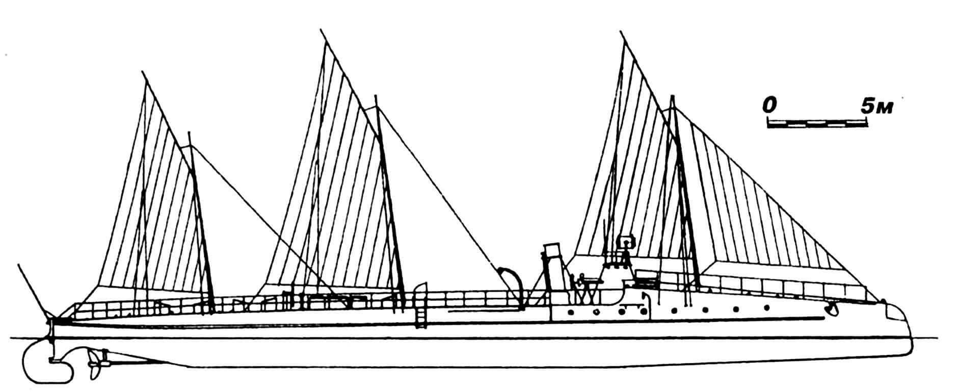 49.Миноносец «Ревель», Россия, 1886 г. Строился во Франции фирмой «Норман». Водоизмещение полное 109 т. Длина по ватерлинии 46,8 м, ширина 3,8 м, осадка 2,5 м. Мощность одновальной паросиловой установки 800 л.с., скорость на испытаниях 19,7 узла. Вооружение: два торпедных аппарата, две 37-мм револьверные пушки Гочкиса. Всего построено две единицы: «Ревель» и «Свеаборг». В 1894—1895 гг. перешли на Дальний Восток, в 1898 г. переименованы в № 205 и № 206 соответственно. Исключены из списков флота в 1913г.