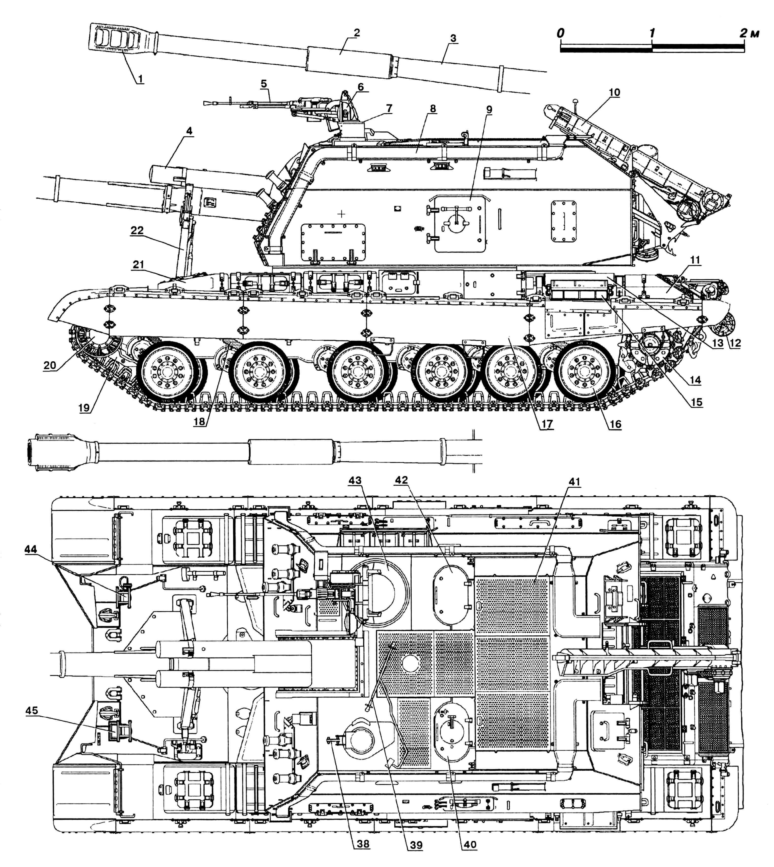 Самоходная артиллерийская установка 2С19 «Мста-С» № 1010ШТ8037 выпуска 1993 года: 1 — тормоз дульный; 2 — ресивер; 3 — 152-мм гаубица 2А64; 4 — откатное устройство (2 шт.); 5 — 12,7-мм пулемет НСВТ-12,7 «Утес»; 6 — осветитель ОУ-3ГАМ «Узор»; 7 — прицел панорамный 1П22; 8 — воздуховод системы воздухоочистки; 9 — люк наводчика бортовой; 10 — конвейер подачи снарядов с грунта; 11 — ящики ЗИП задние; 12 — бревно для самовытаскивания; 13 — бак для масла; 14 — колесо ведущее; 15 — патрубок двигателя выхлопной; 16 — каток опорный; 17 — экран бортовой резинотканевый; 18 — гидроамортизатор; 19 — самоокапыватель; 20 — колесо направляющее; 21 — ящик ЗИП передний (2 шт.); 22 — кронштейн крепления ствола по-походному; 23 — петли для швартовки машины в самолете; 24 — лючок выброса стреляных гильз; 25 — 81-мм дымовые гранаты системы 902В «Туча»; 26 — крюки для снятия башни; 27 — окно прицела прямой наводки; 28 — шторка прицела 1П22, защитная; 29 — прицел установки ПЗУ-5; 30 — ввод антенный; 31 —ящик патронный пулемета НСВТ-12,7; 32 — ночной прибор ТКН-ЗМ «Речник», командирский; 33 — ящики патронные запасные пулемета НСВТ-12,7; 34 — пила в чехле; 35 —люк доступа к трансмиссии; 36 — оборудование ОПВТ; 37 — люк подачи снарядов с грунта; 38 — патрубок системы пневмоочистки стекла прицела 1П22; 39 — штырь мерный; 40 — люк наводчика с лючком установки трубы ОПВТ; 41 — рифленые дорожки для хождения; 42 — люк заряжающего; 43 — люк командира; 44 — фара ФГ-125 с ИК-фильтром; 45 — фара ФГ-127 со СМУ.