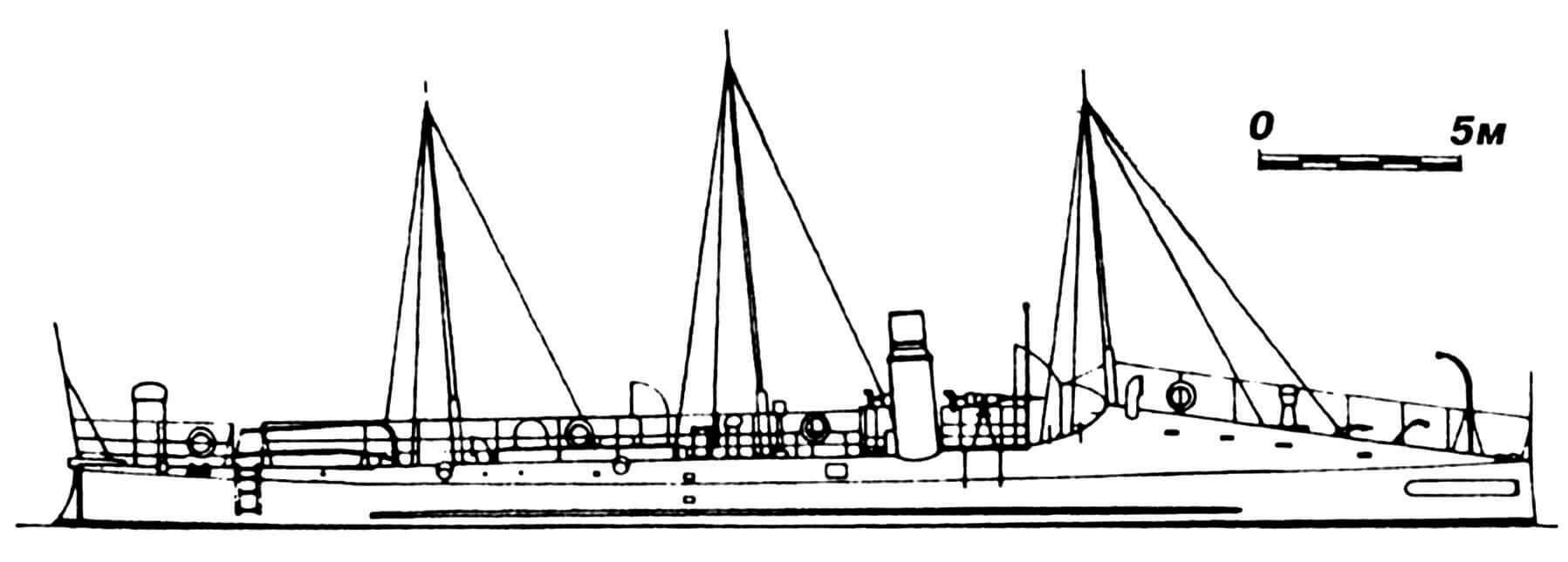 40. Миноносец «Барсело», Испания, 1887 г. Строился во Франции фирмой «Норман». Водоизмещение нормальное 63 т. Длина наибольшая 38,4 м, ширина 3,32 м, осадка 1,19 м. Мощность одновальной паросиловой установки 800 л.с., скорость на испытаниях 19,5 узла. Вооружение: два торпедных аппарата, две 37-мм пушки. Всего построено две единицы: «Барсело» во Франции и «Бустаменте» в Испании. Исключены из списков флота в 1912г.