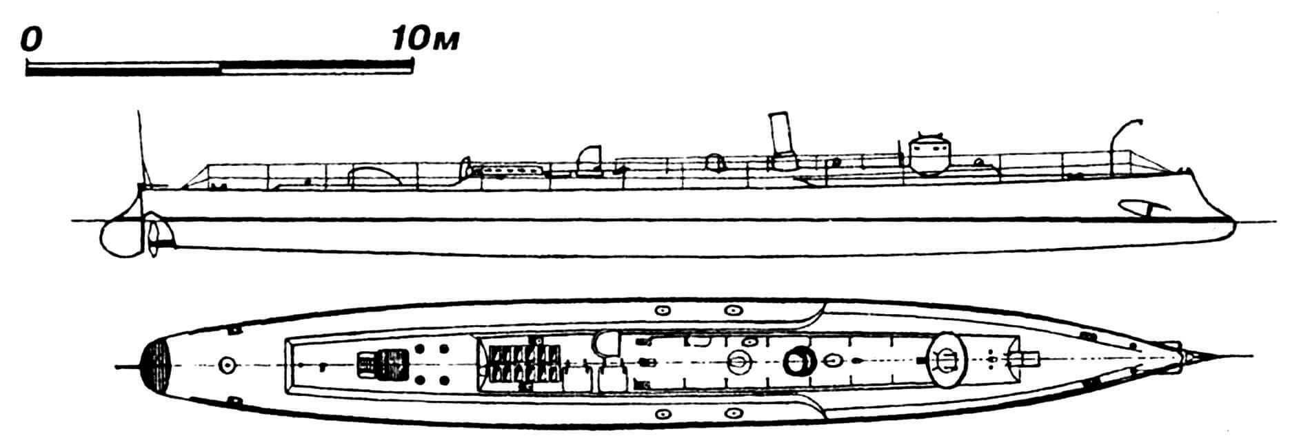 29.Миноносец «Аквила», Италия, 1882 г. Строился в Англии фирмой «Торникрофт». Водоизмещение нормальное 35 т. Длина наибольшая 29,2 м, ширина 3,28 м, осадка 1,5 м. Мощность одновальной паросиловой установки 430 л.с., скорость на испытаниях 20 узлов. Вооружение: два носовых торпедных аппарата и двуствольная 25-мм пушка. Всего построено две единицы: «Аквила» и «Габбиано», обе сданы на слом в 1907 г. В 1884 — 1887 гг. построено еще 30 аналогичных кораблей типа «Альдебаран», имевших длину 30,5 м, ширину 3,58 м, осадку 1,67 м, нормальное водоизмещение 39 т и скорость 21 узел.