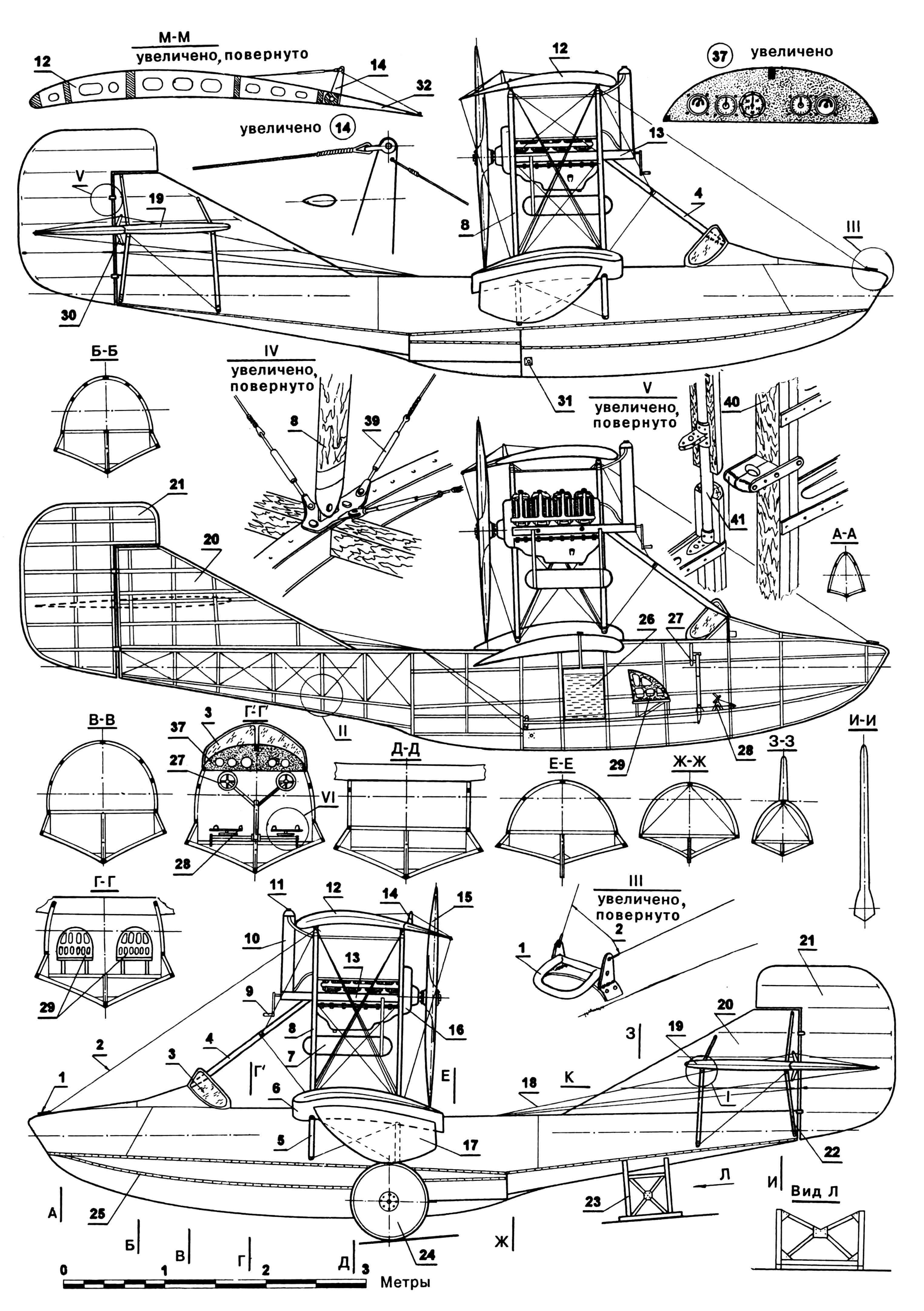 «КЕРТИСС С-3»: 1 — узел швартовочный; 2 — расчалки тросовые; 3 — стекло ветровое; 4 — подкос рамы двигателя носовой; 5 — подкосы нижнего крыла; 6 — крыло нижнее; 7 — маслобак; 8 — стойки крыла; 9 — рукоятка стартера двигателя; 10 — радиатор; 11 — горловина радиатора; 12 — крыло верхнее; 13 — рама крепления двигателя; 14 — качалка элерона; 15 — винт воздушный фирмы «Кертисс»; 16 — двигатель; 17 — поплавок крыльевой; 18 — проводка управления тросовая; 19 — стабилизатор; 20 — киль; 21 — руль направления; 22 — подкосы стабилизатора; 23 — подставка стояночная хвостовая; 24 — колесо транспортной тележки; 25 — окантовка корпуса металлическая; 26 — бак топливный; 27 — штурвал; 28 — педали управления рулем направления; 29 — кресло пилота; 30 — качалка руля высоты; 31 — узел установки колес тележки; 32 — элерон; 33 — руль высоты; 34 — качалка руля направления; 35 — картер двигателя; 36 — подкосы рамы двигателя (две пары в плоскостях стоек крыла); 37 — доска приборная; 38 — узел соединения элементов конструкции фюзеляжа (типовой); 39 — тендер тросовых расчалок; 40 — лонжерон киля; 41 — узел навески руля направления (типовой).