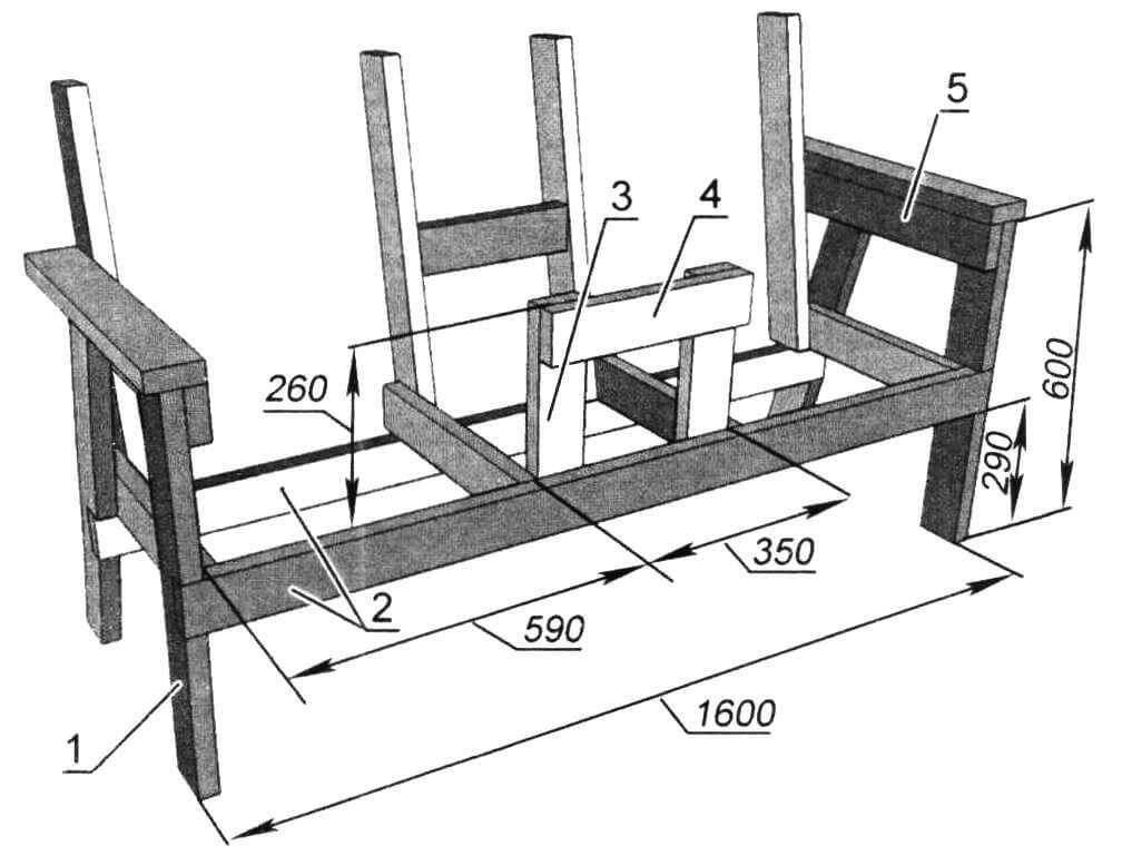Каркас скамейки (вид спереди): 1 - ножка передняя (2 шт); 2 - балка продольная (2 шт); 3 - опора столика передняя вертикальная (2 шт); 4 - опора столика передняя горизонтальная; 5 - балка подлокотника (2 шт). Поз. 1, 2, 5 - доска 35x90 мм; поз. 3, 4 - доска 25x90 мм