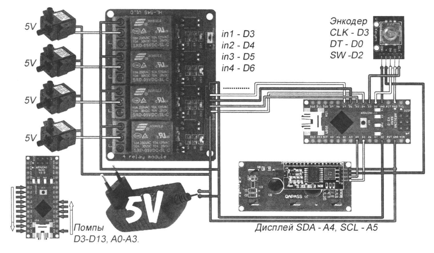 Принципиальная схема многоканальной системы автополива, использующая помпы с питанием 5 В