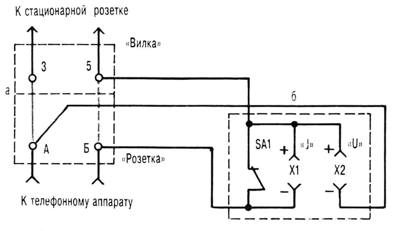 Схема соединения телефонного тройника (а) с выносным минипультом (б).