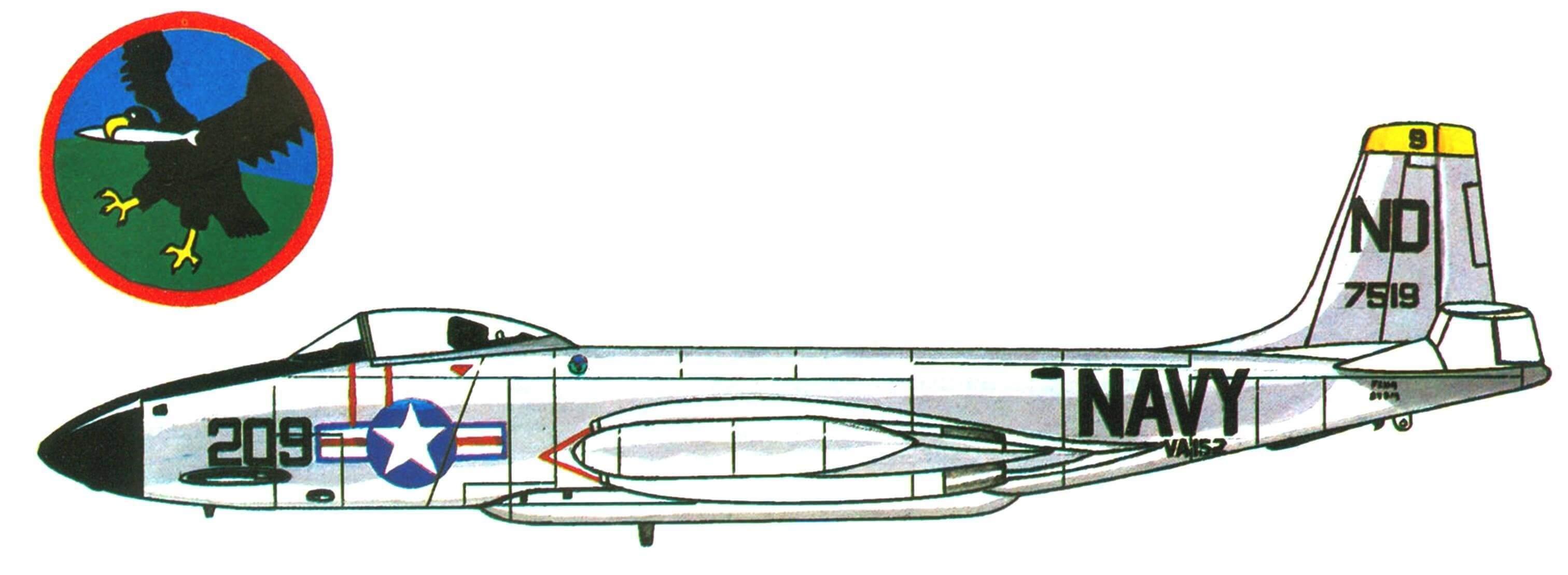 F2H-3 «Бенши» эскадрильи VA-152, авианосец «Беннингтон», 1958 год.