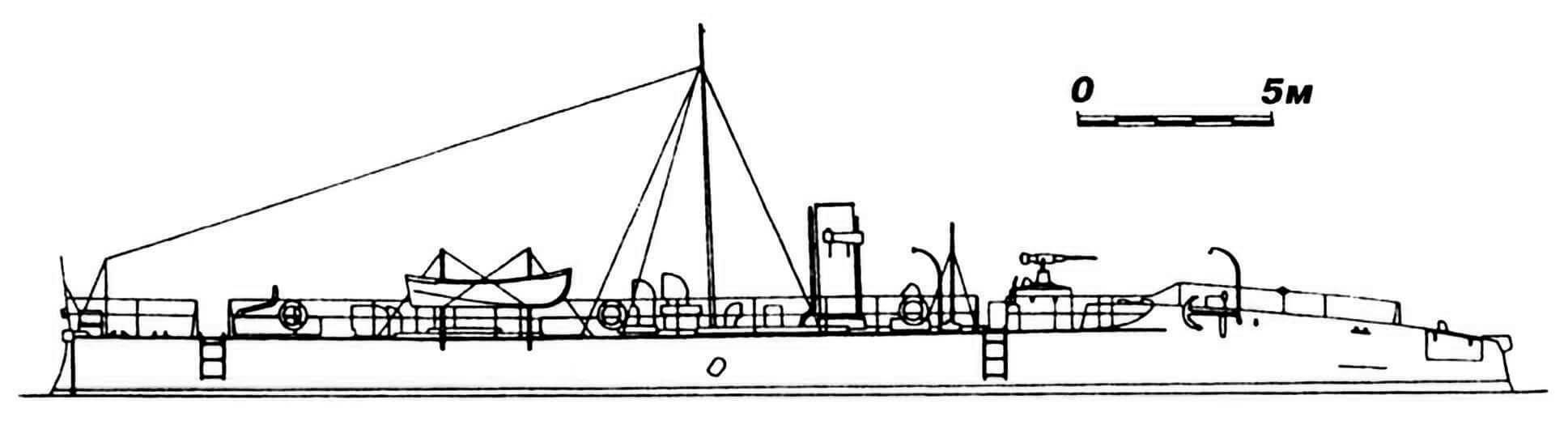 41.Миноносец «Хабана», Испания, 1887 г. Строился в Англии фирмой «Торникрофт». Водоизмещение нормальное 67 т. Длина наибольшая 38,89 м, ширина 3,81 м, осадка 1,8 м. Мощность одновальной паросиловой установки 780 л.с., скорость на испытаниях 21,2 узла. Вооружение: два торпедных аппарата и 37-мм пушка. Исключен из списков флота в 1918 г.