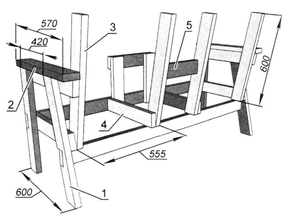 Каркас скамейки (вид сзади): 1 - ножка задняя (2 шт); 2 - подлокотник (2 шт); 3 - балка спинки (4 шт); 4 - балка поперечная (4 шт); 5 - опора столика задняя горизонтальная. Поз. 1, 3, 4 - доска 35x90 мм; поз. 2 - доска 20x100 мм; поз. 5 - доска 25x90 мм