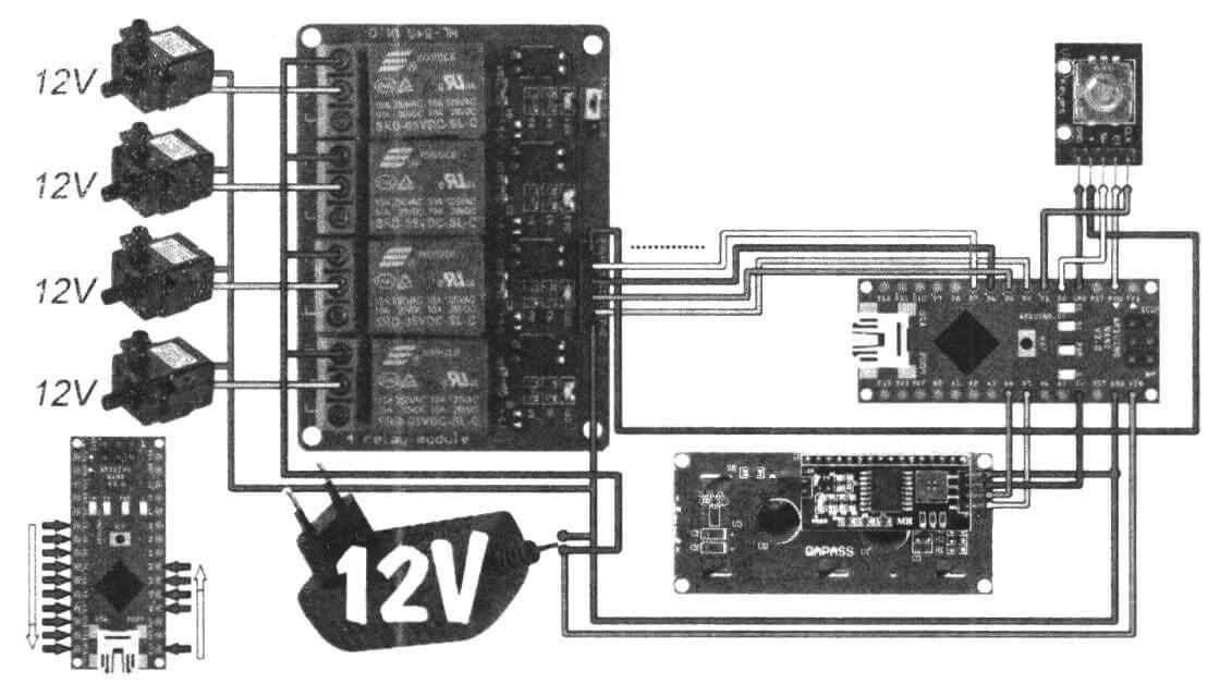 Вариант схемы с использованием 12-вольтовых помп
